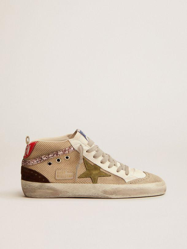 Mid Star sneakers in cream-colored mesh with suede and glitter details