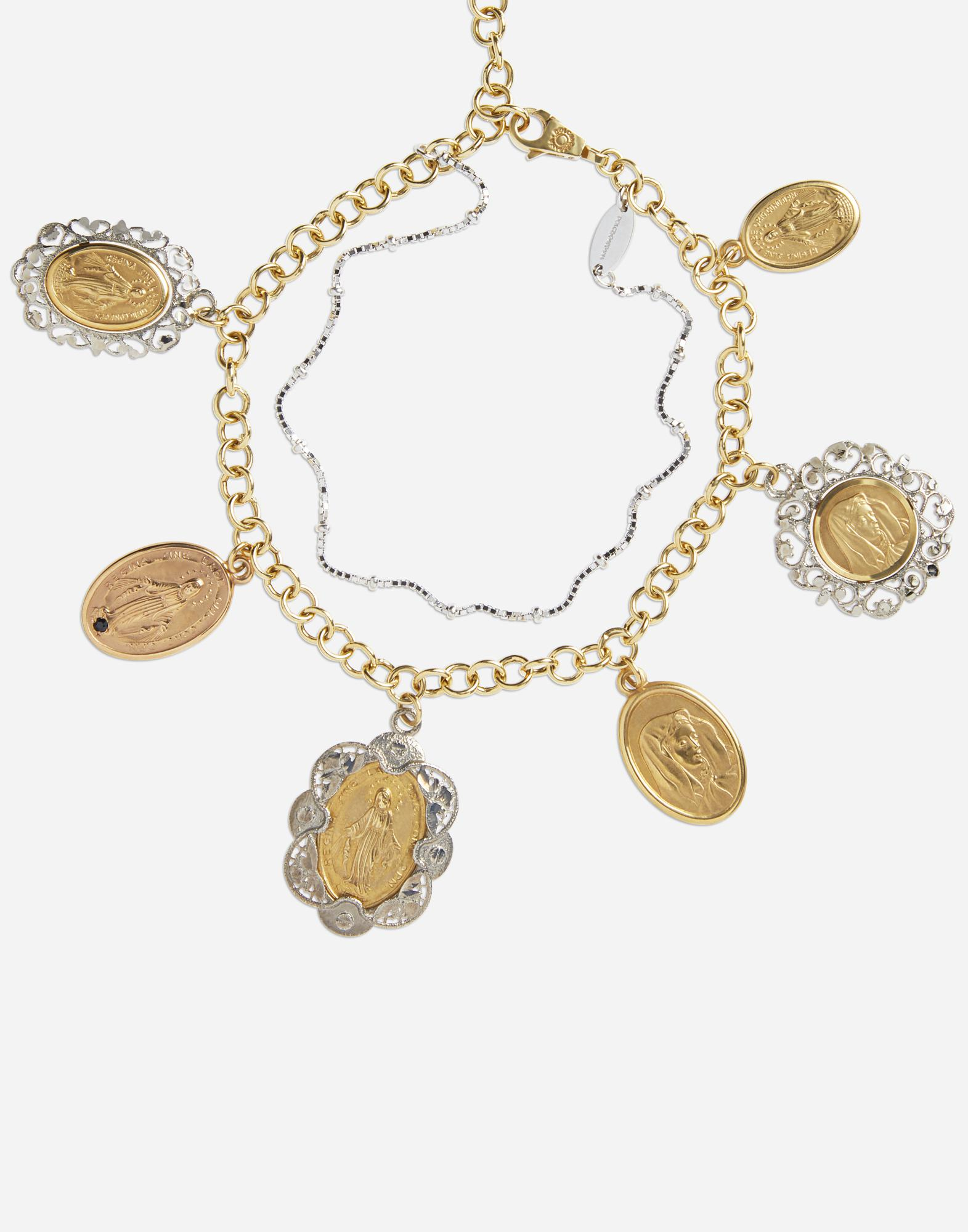 White and rose gold bracelet with religious medallions 1