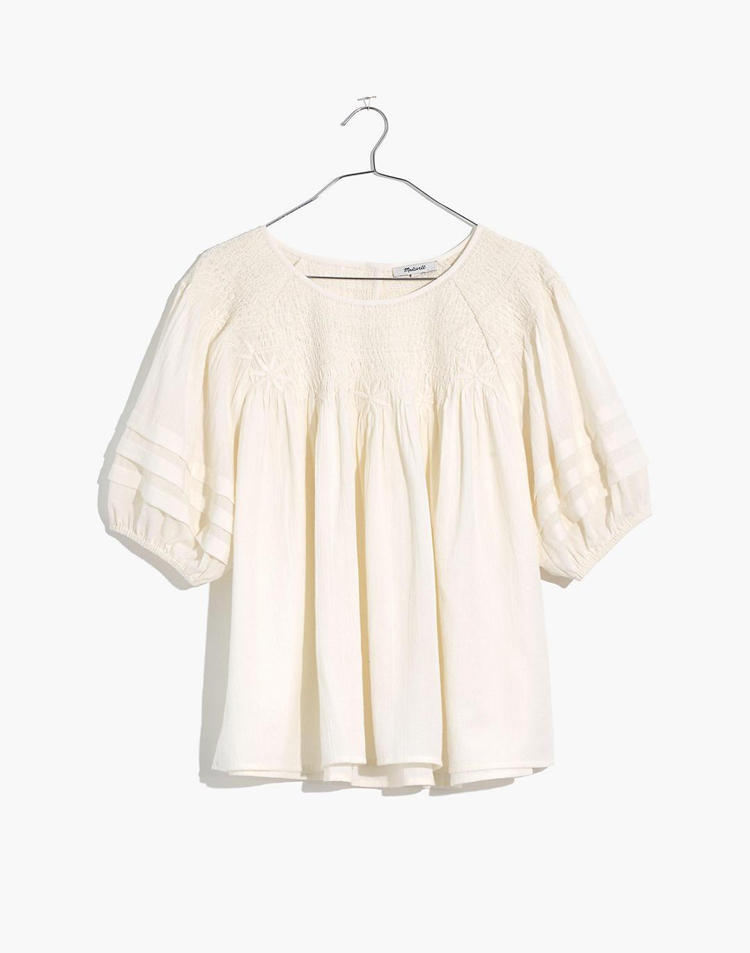 Plus Embroidered Smocked Top