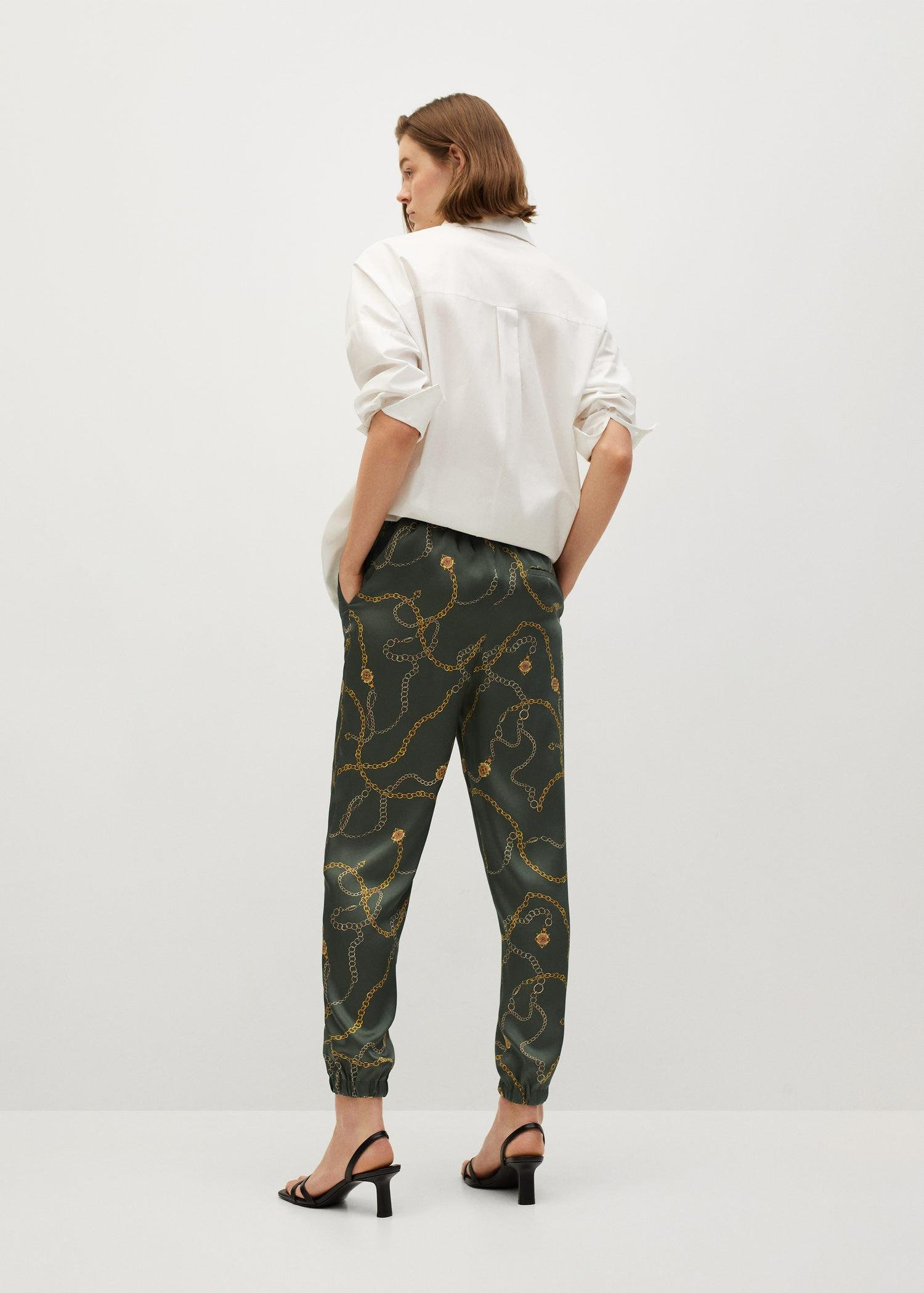 Satin-finish pants with pleat detail 2