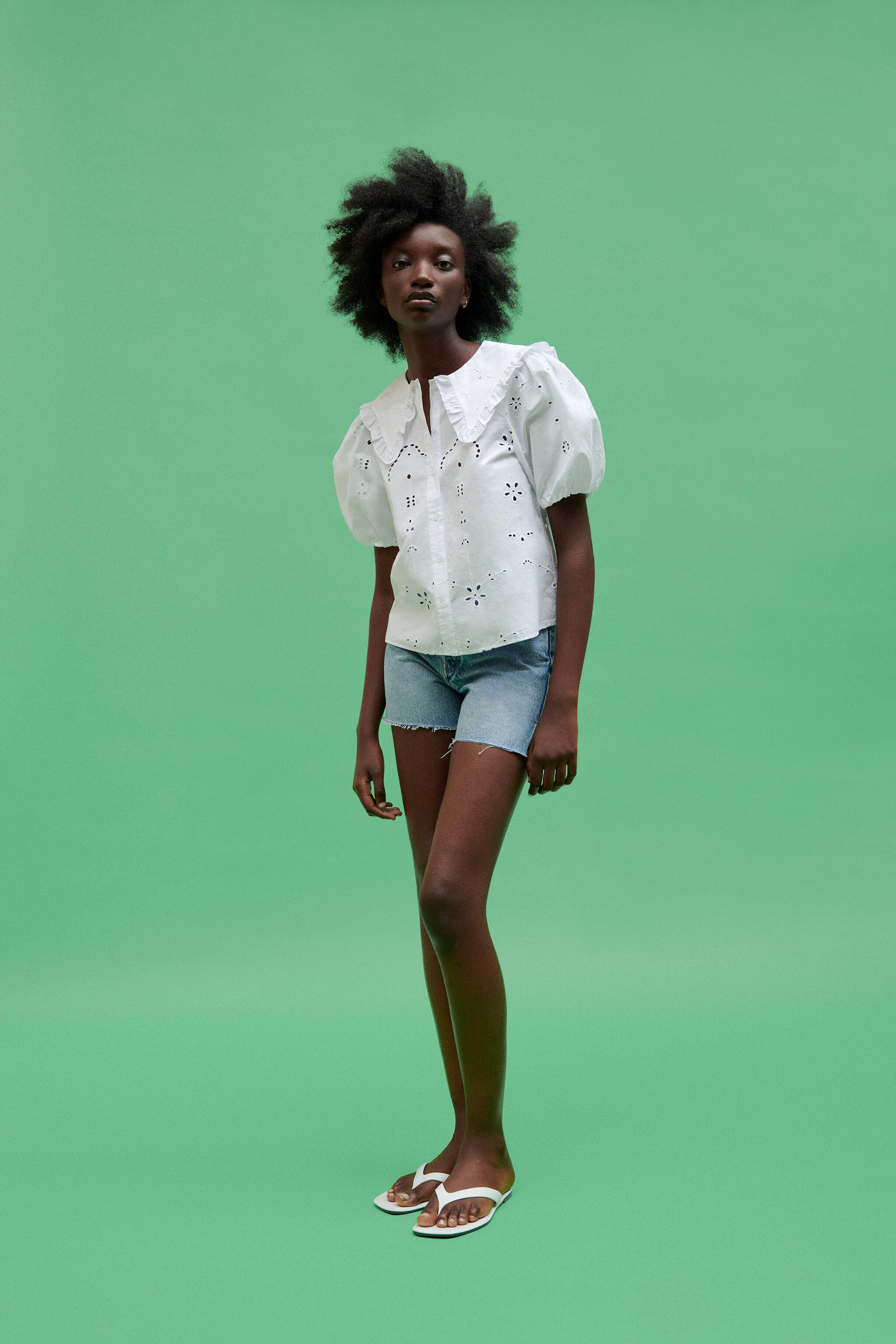 POPLIN TOP WITH EYELET EMBROIDERY 0