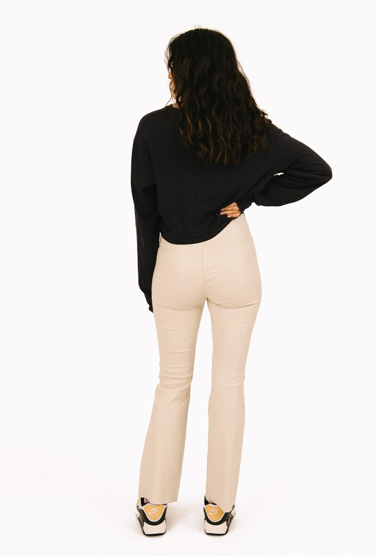 Off White Leather Ankle Flare Legging 2