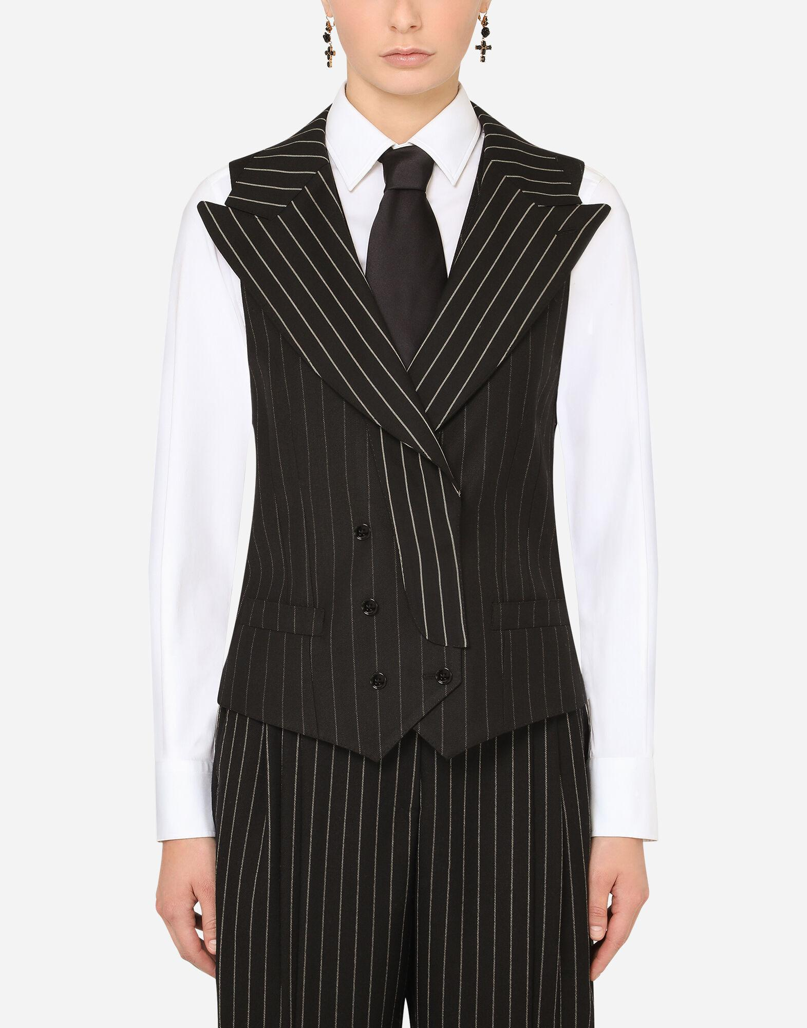 Double-breasted pinstripe wool vest