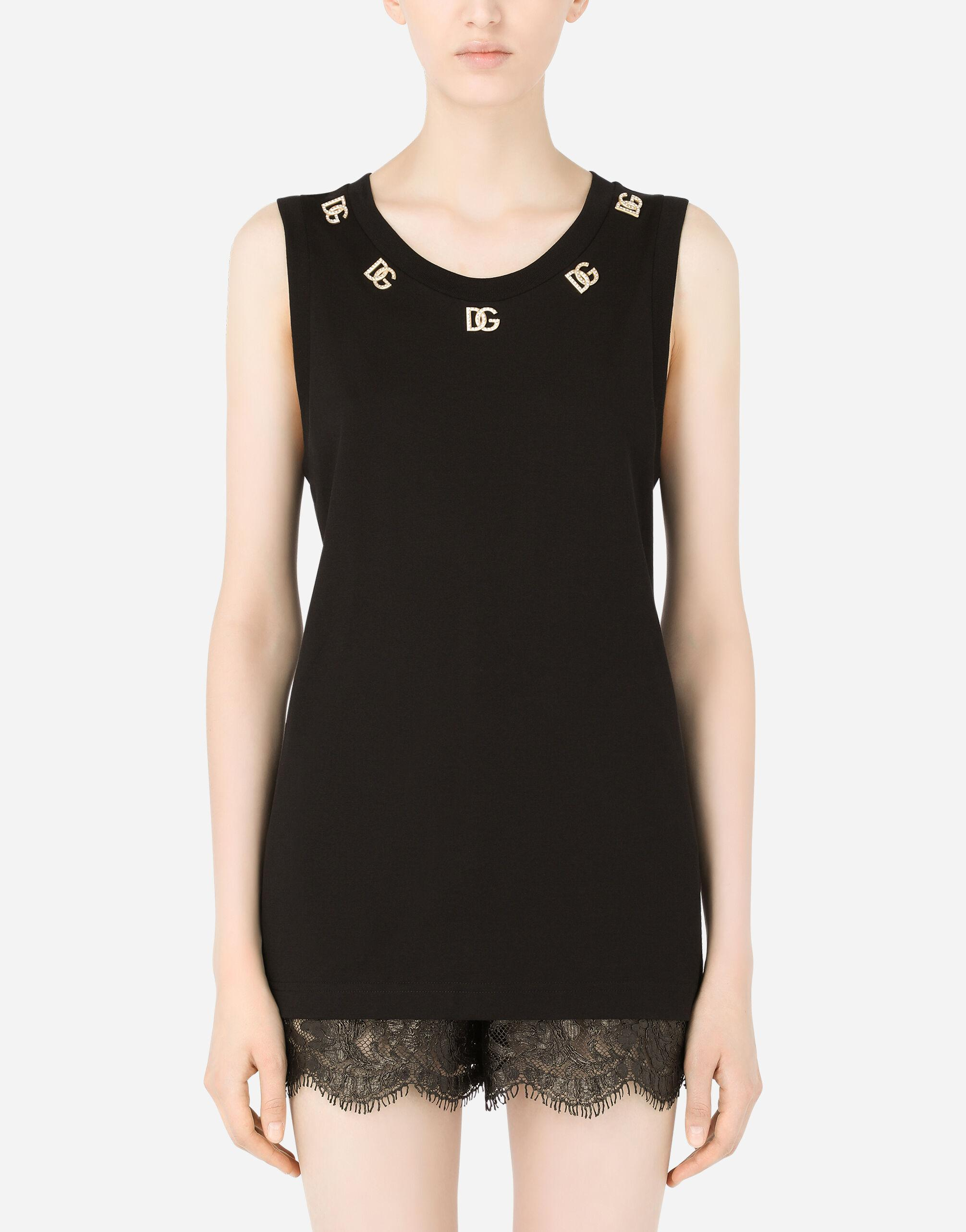 Jersey tank top with crystal DG embellishment