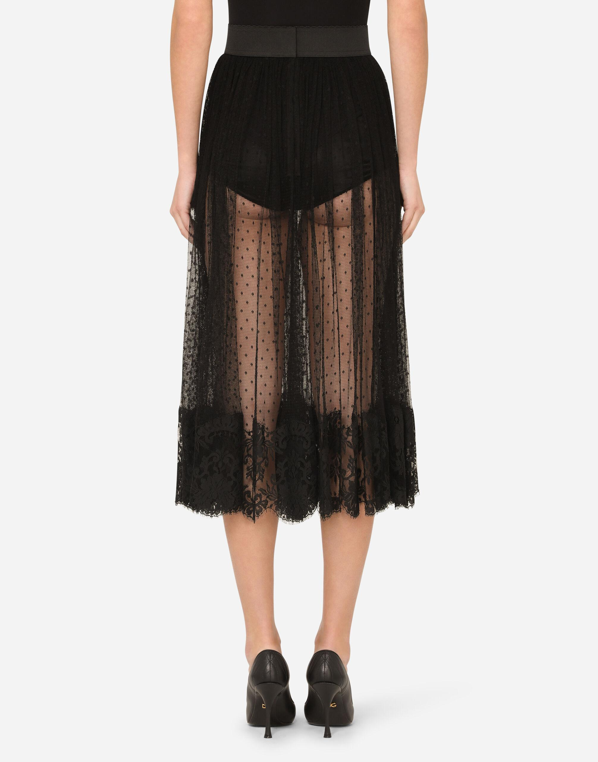 Pleated calf-length skirt in chantilly lace and plumetis 1