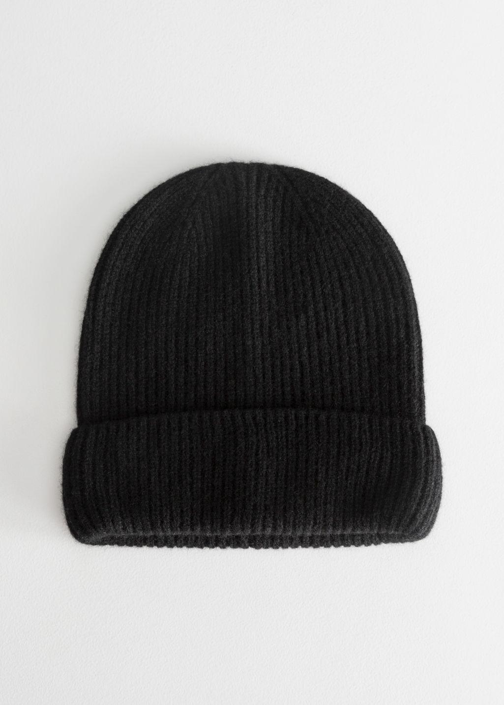 Ribbed Cashmere Knit Beanie