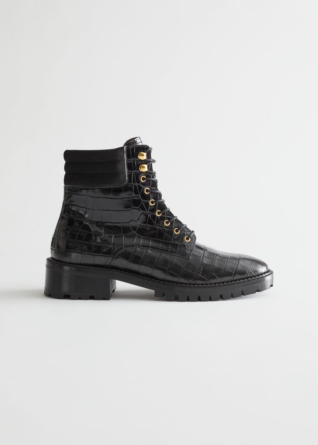 Croc Embossed Chunky Leather Boots