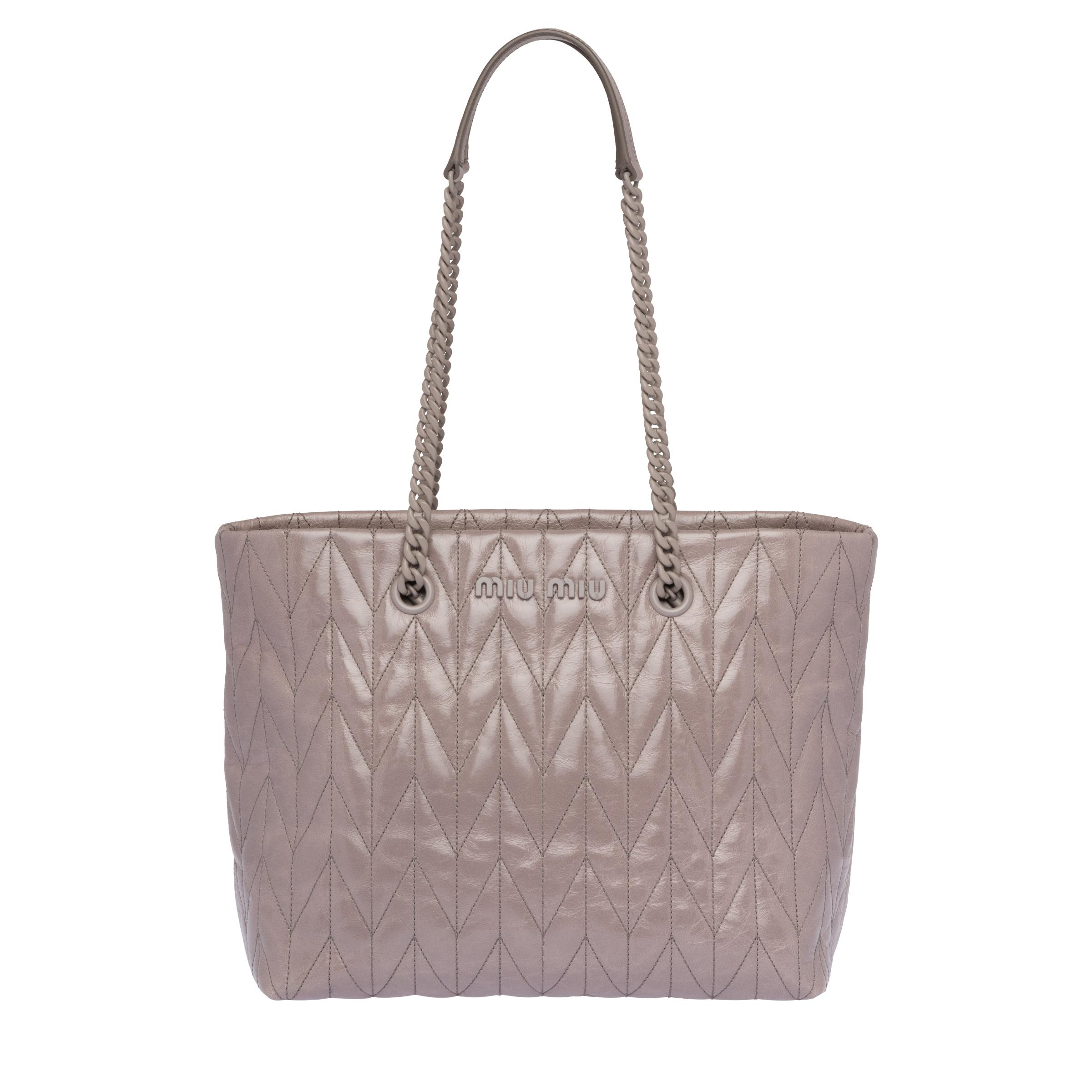Quilted Shiny Leather Tote Bag Women Dark Grey