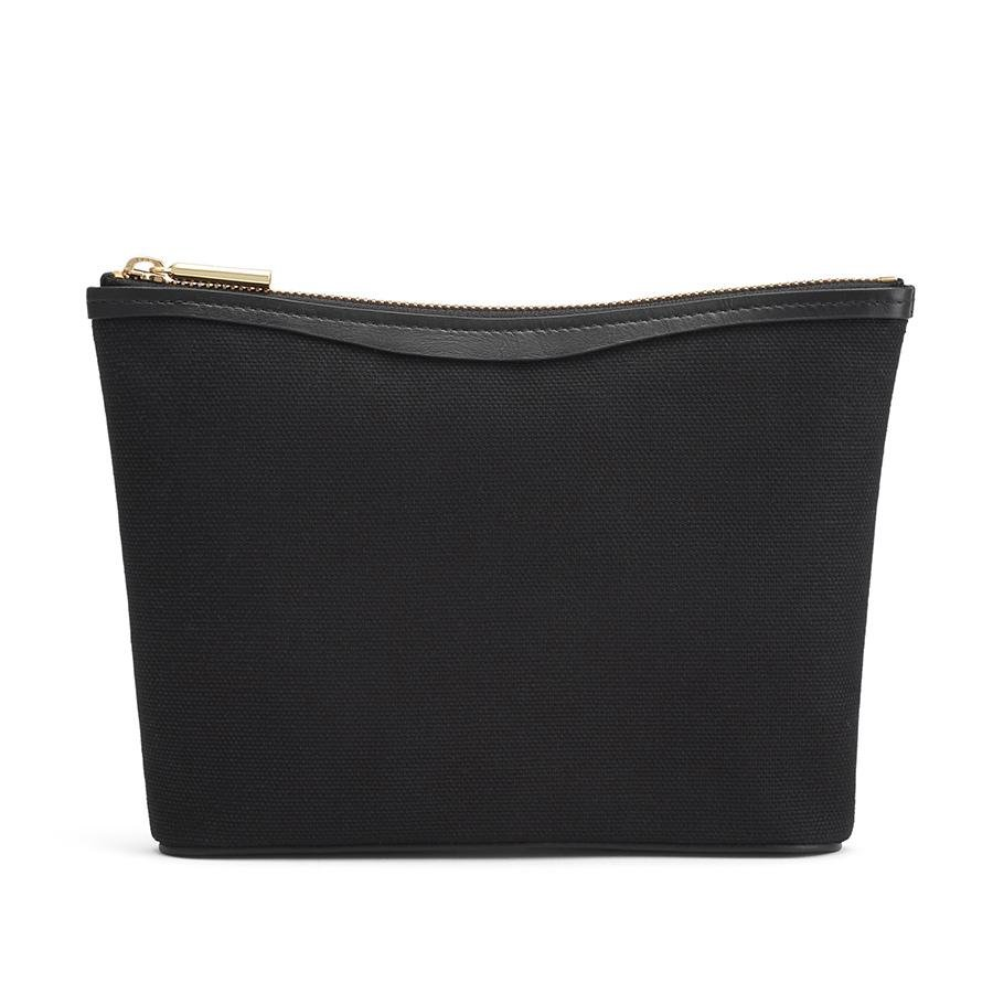 Women's Small Canvas Zipper Pouch in Black | Canvas & Smooth Leather by Cuyana