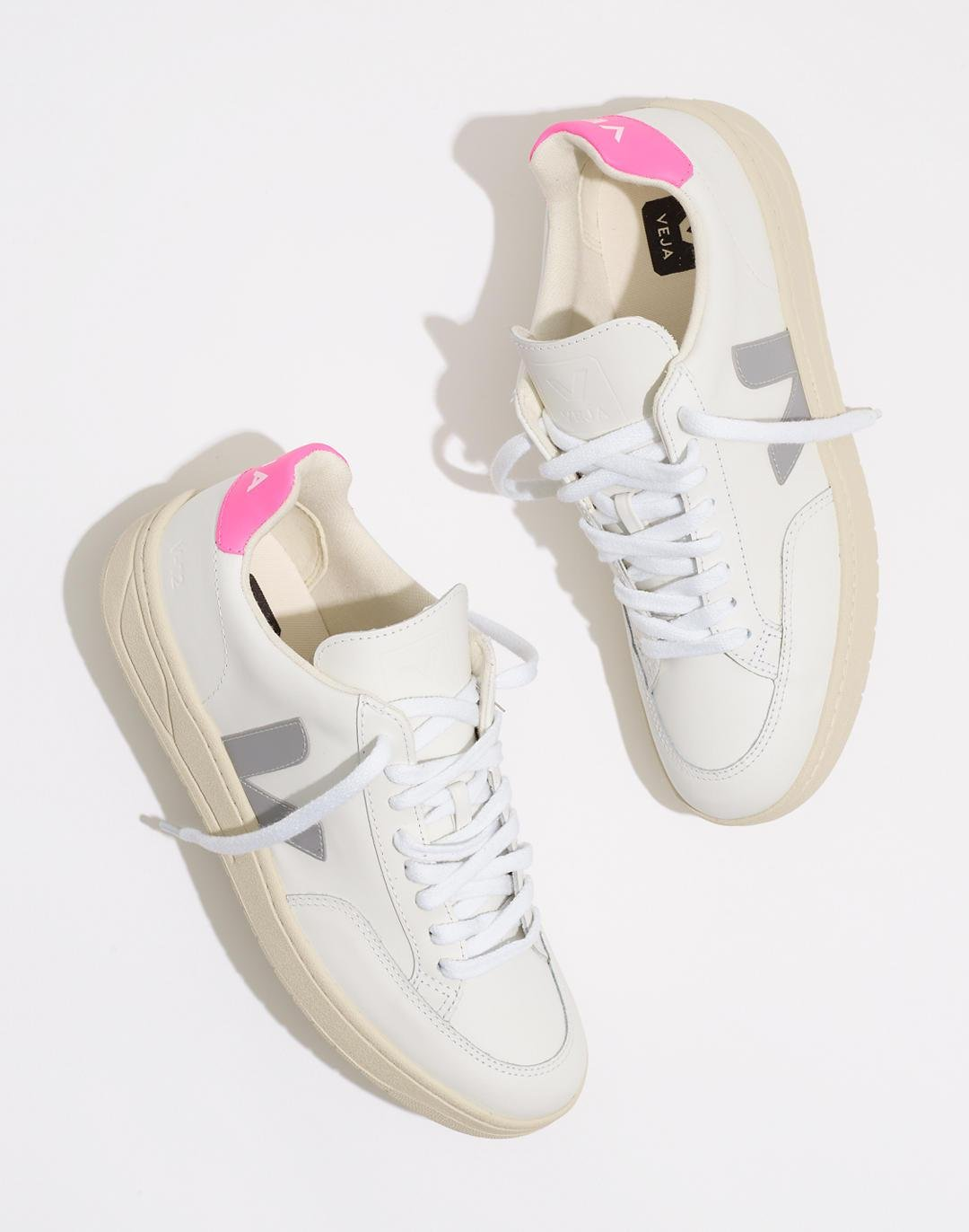 Veja™ Leather V-12 Lace-Up Sneakers in White and Natural