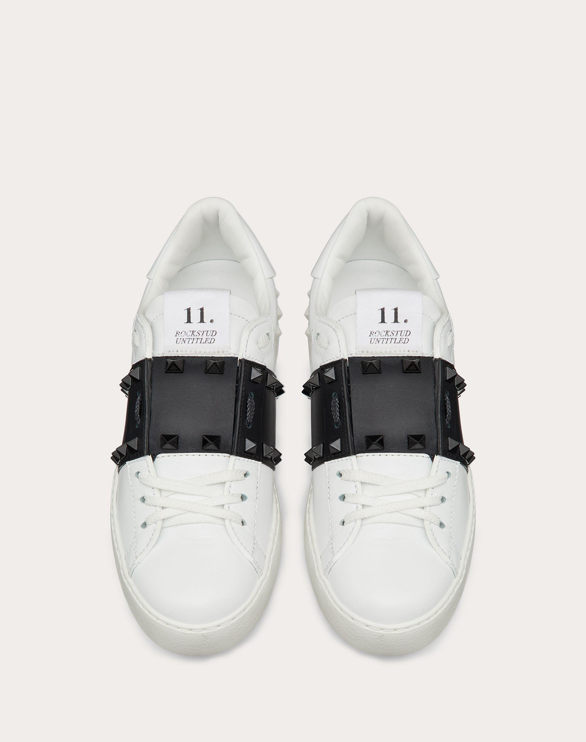 Rockstud Untitled Sneaker in Calfskin Leather with Tonal Studs 3