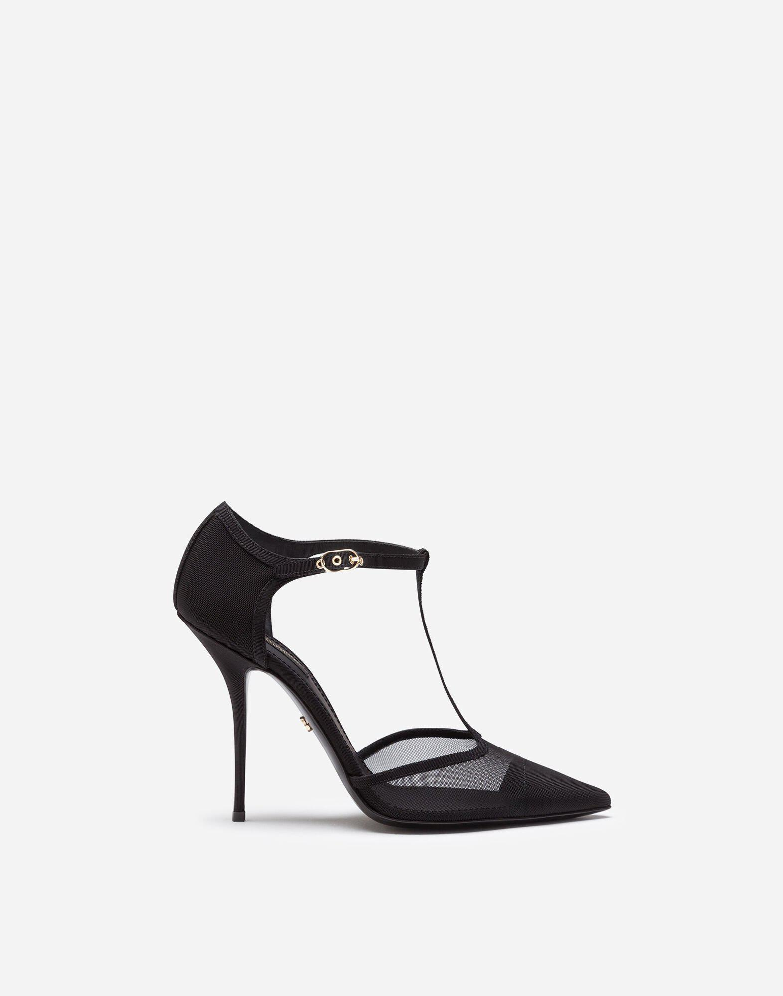 T-strap sandals in mesh and grosgrain