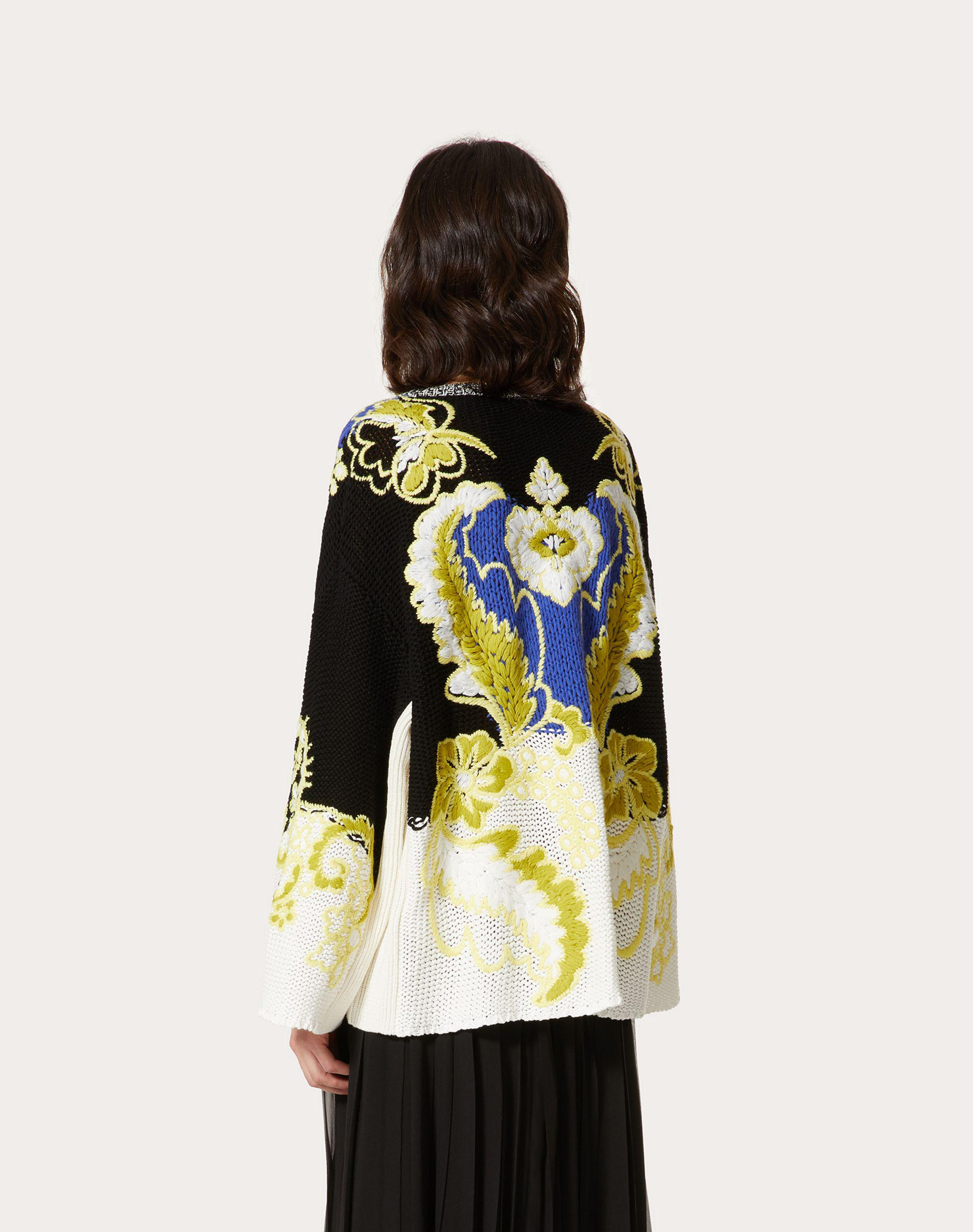 EMBROIDERED WOOL CASHMERE COTTON SWEATER 2