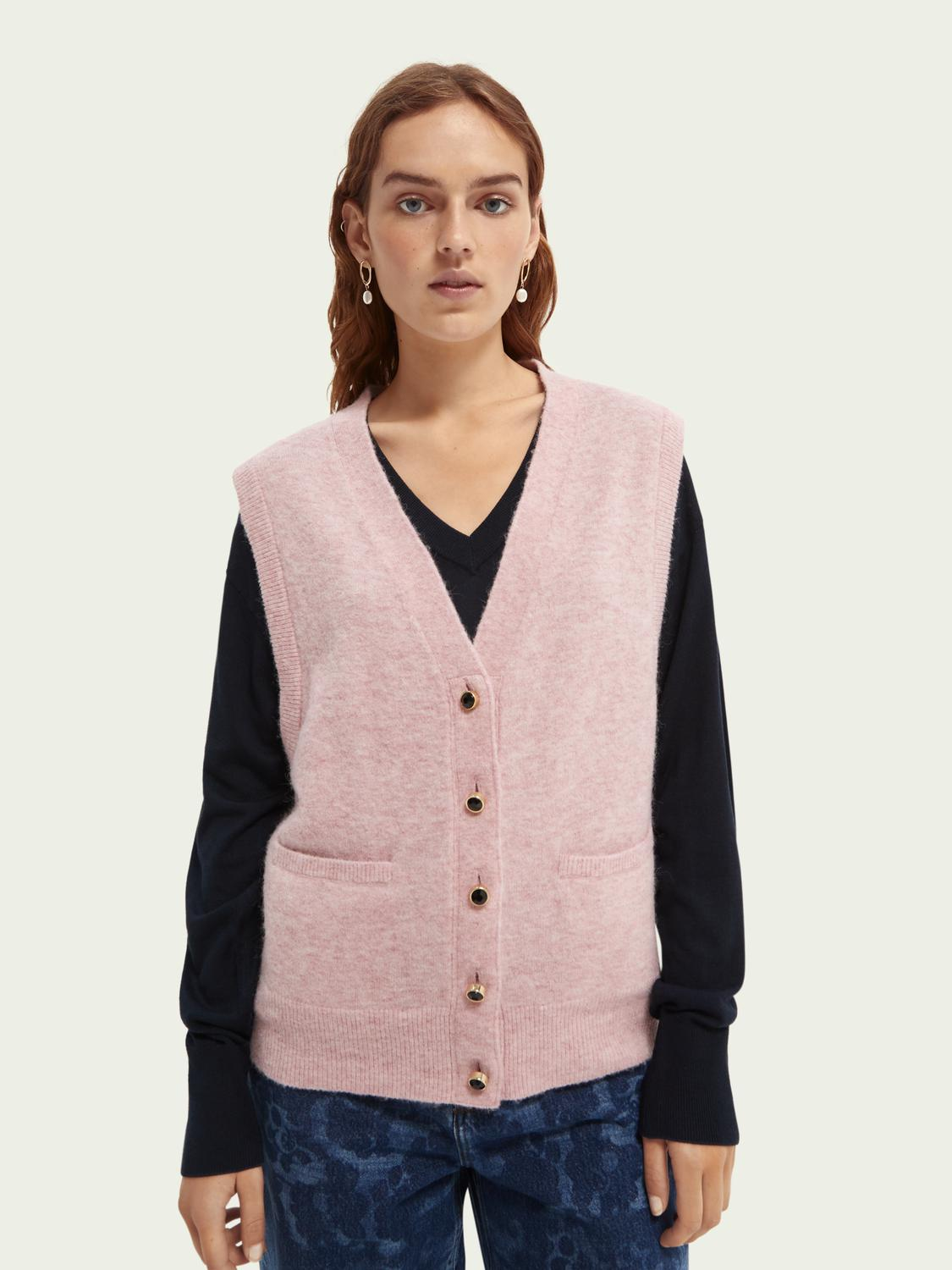 Fuzzy buttoned sweater vest