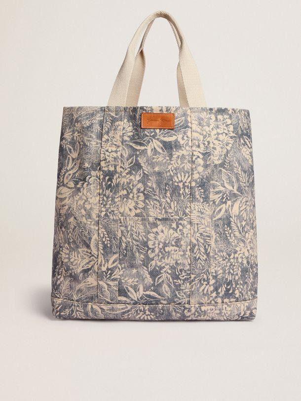 Golden Resort Capsule Collection canvas Ocean bag in vintage blue with contrasting white toile de jouy print