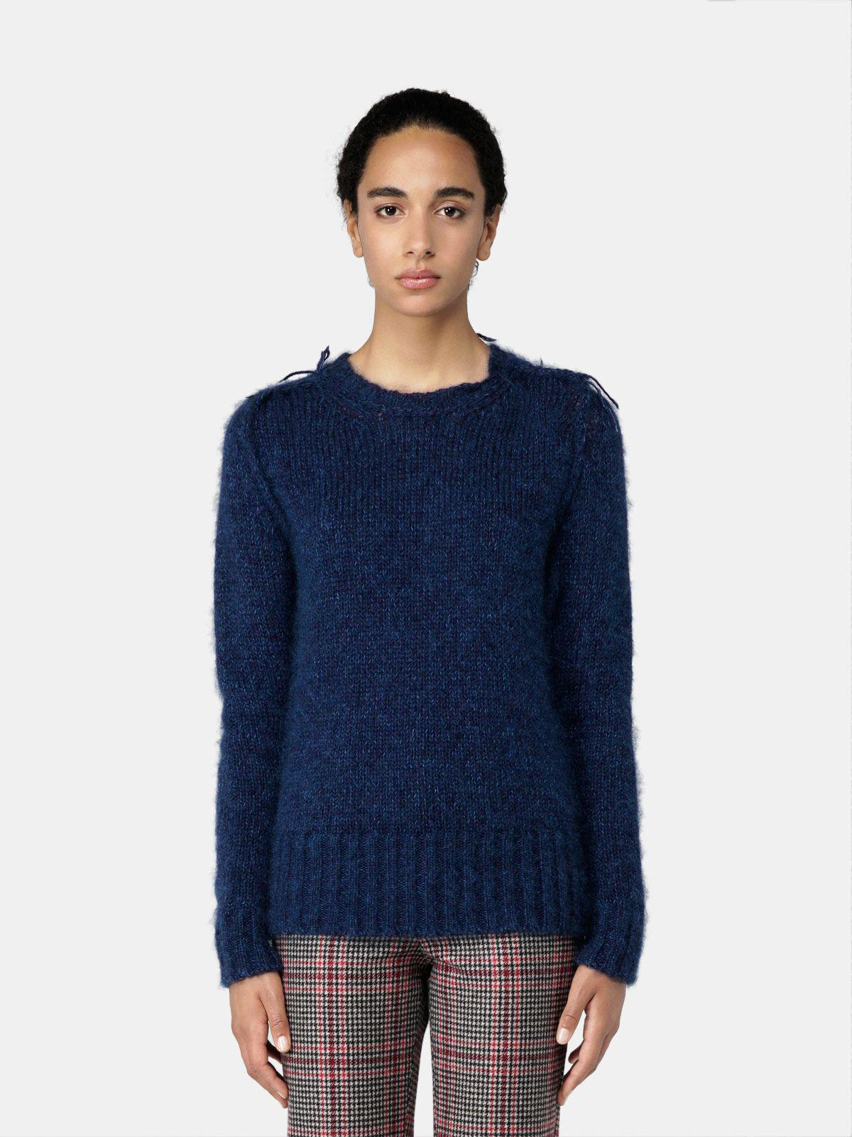 Melange blue Annamaria pullover with pin