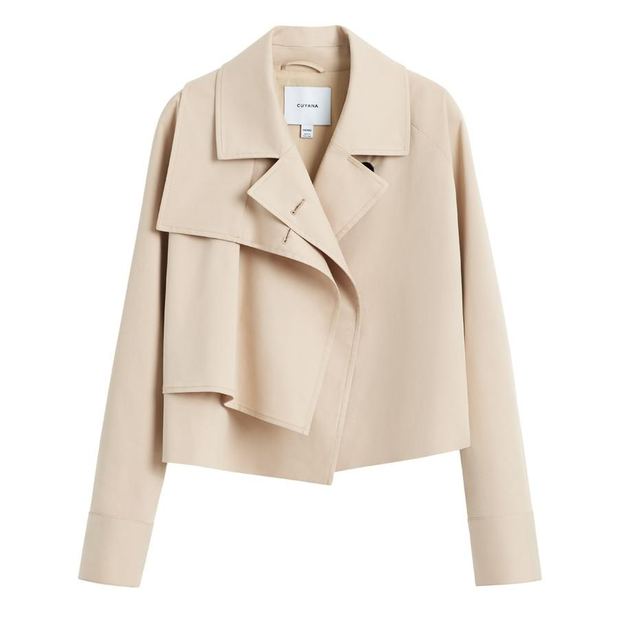 Women's Cropped Trench in Dune | Size: