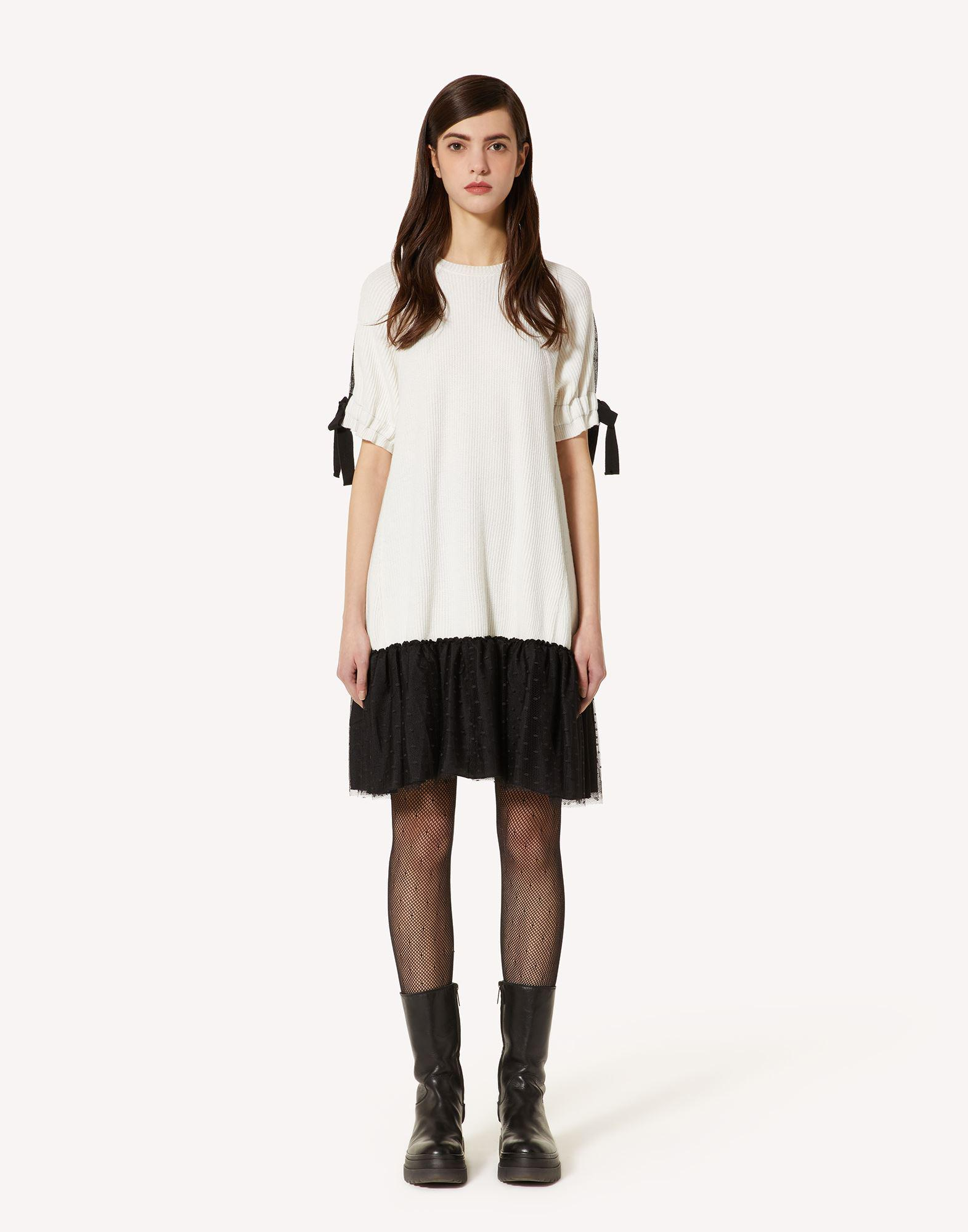CARDED WOOL-BLEND KNIT DRESS WITH POINT D'ESPRIT TULLE