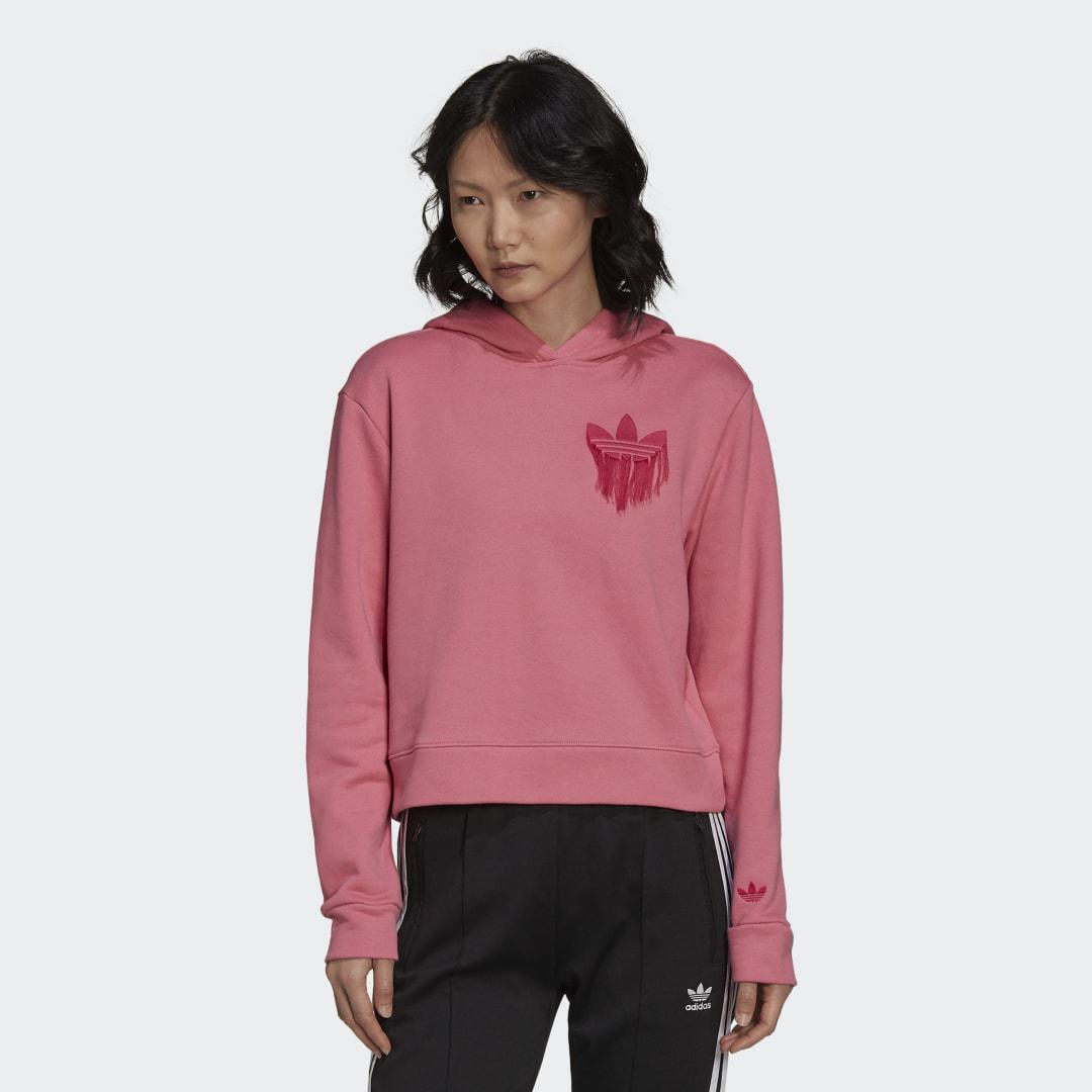 Cropped Hoodie with Trefoil Fringe Embroidery Rose Tone