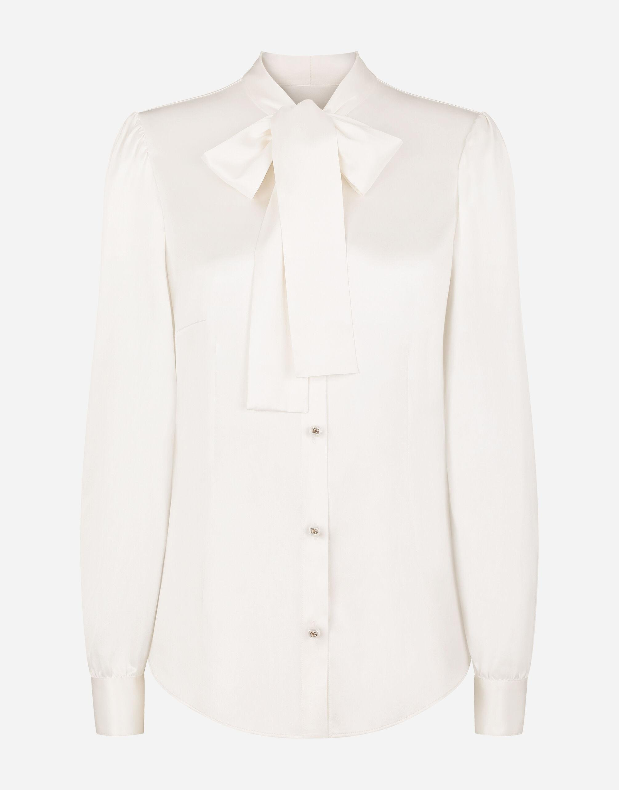 Satin shirt with pearl buttons with DG logo 5