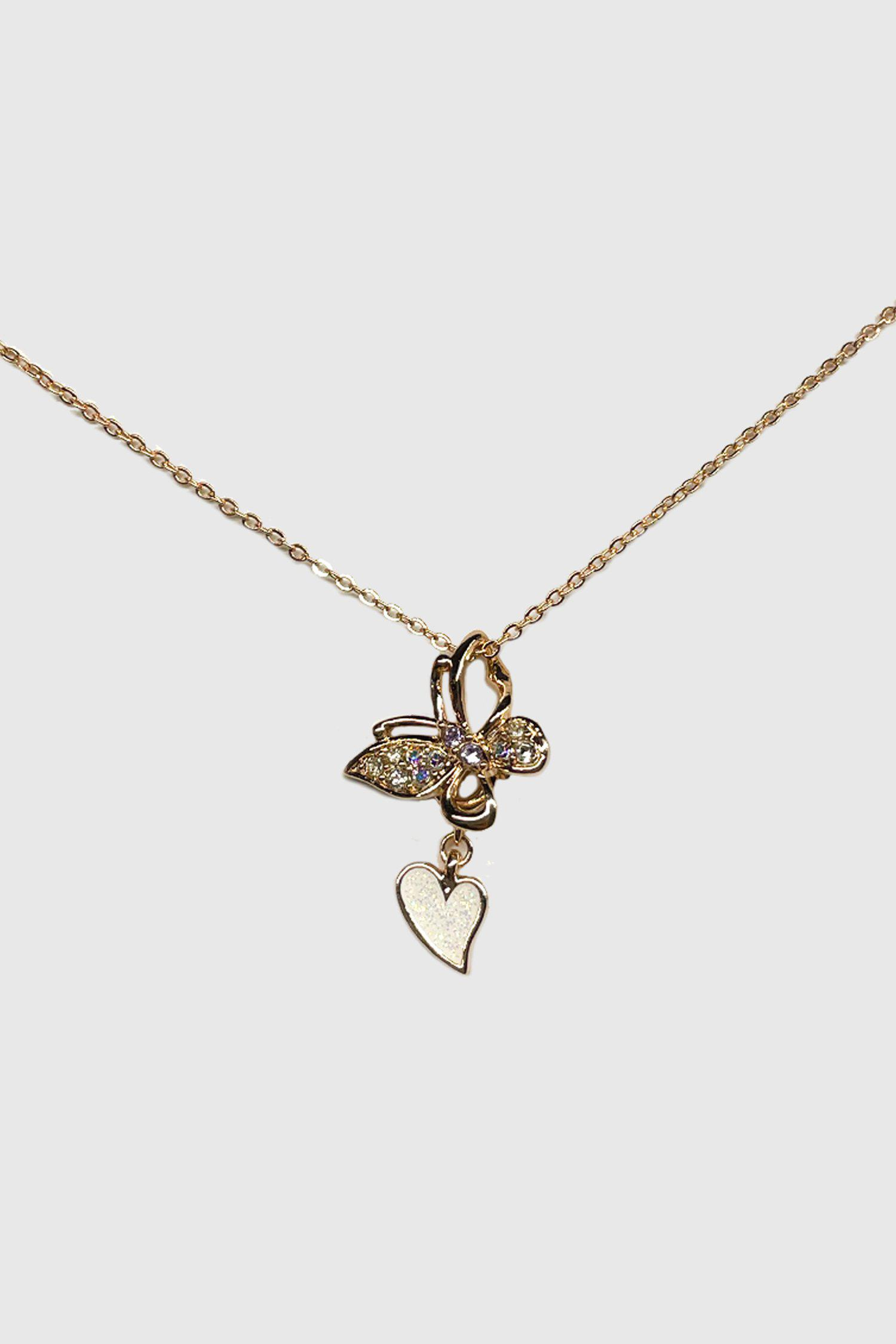 Butterfly Heart Charm Necklace
