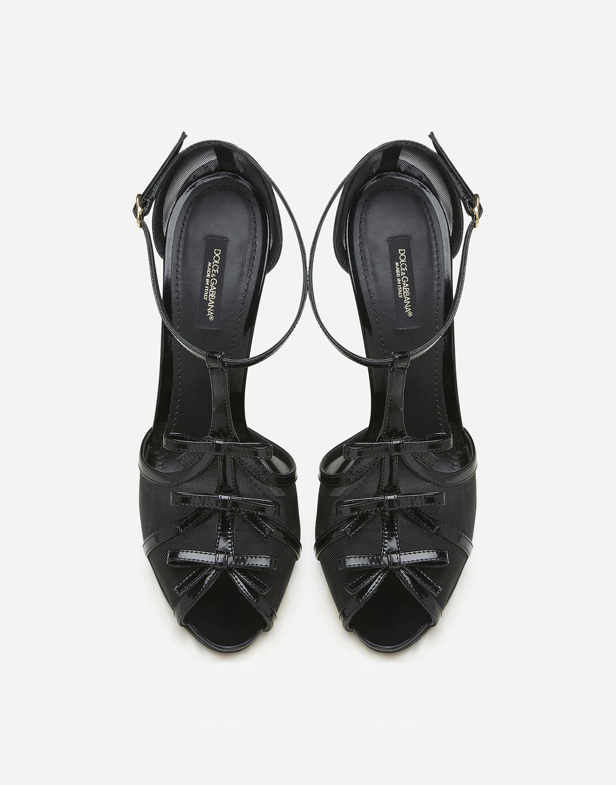 Polished calfskin and mesh sandals with small bows 3
