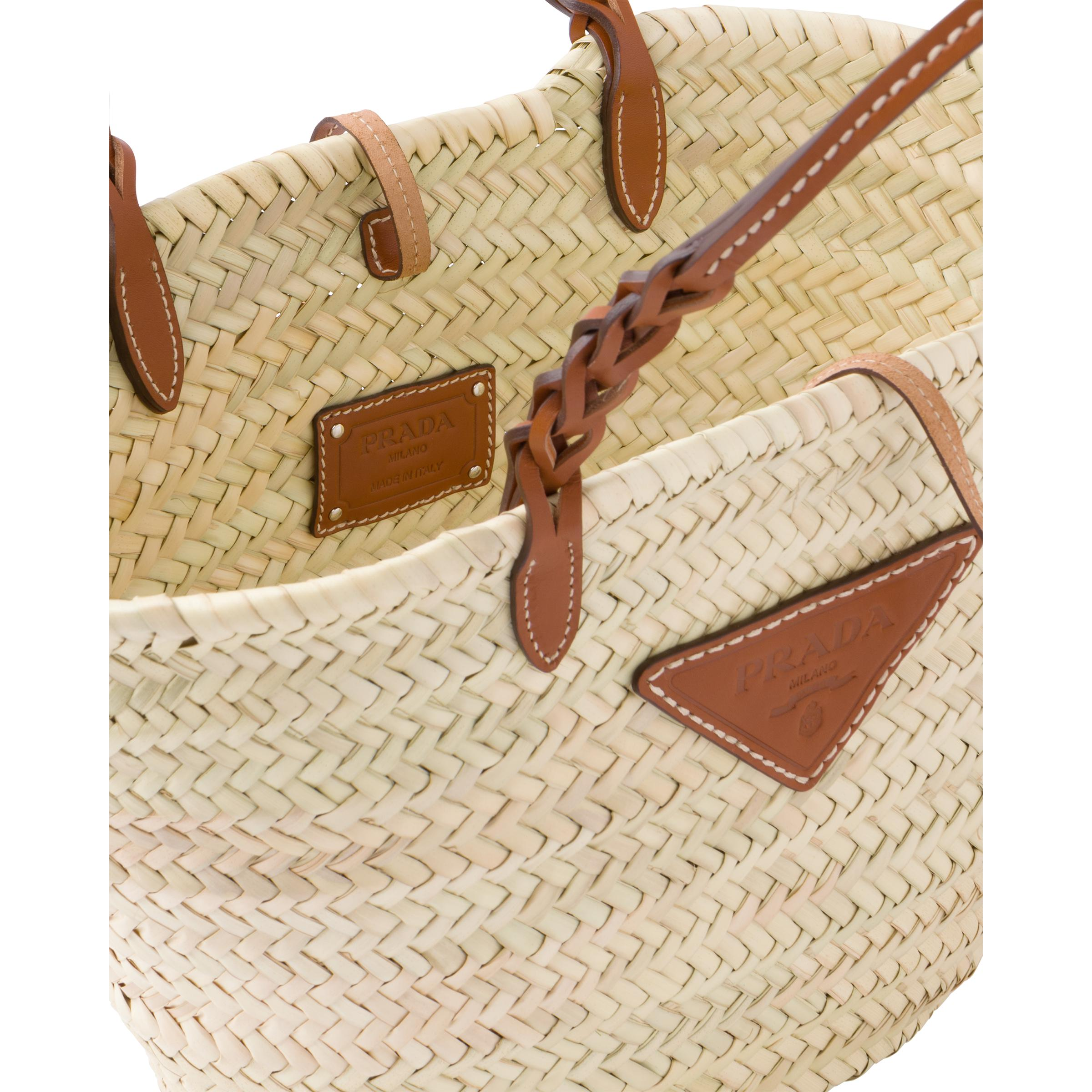 Woven Palm And Leather Tote Women Beige/cognac 4