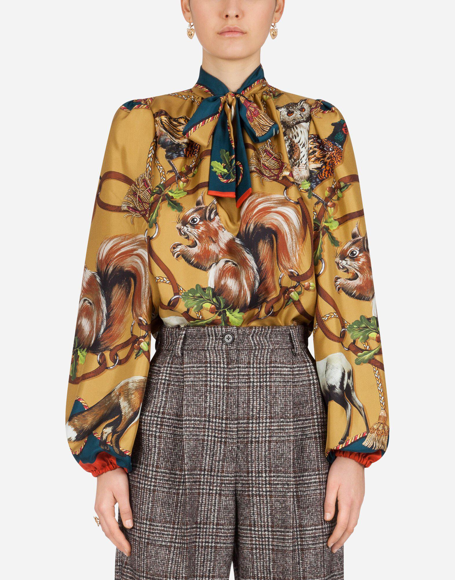 Twill blouse with animals of the forest print