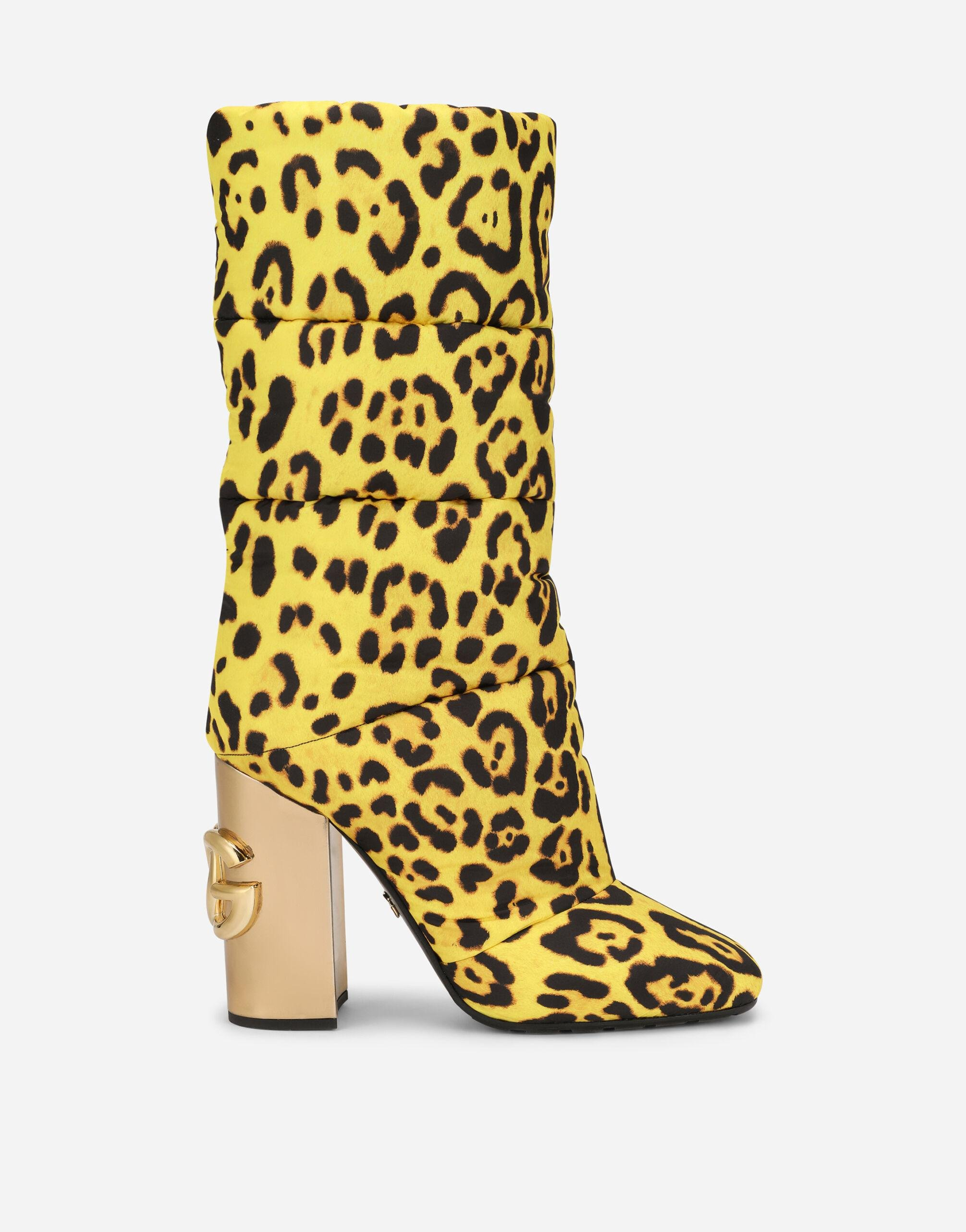 Leopard-print quilted nylon boots with yellow base