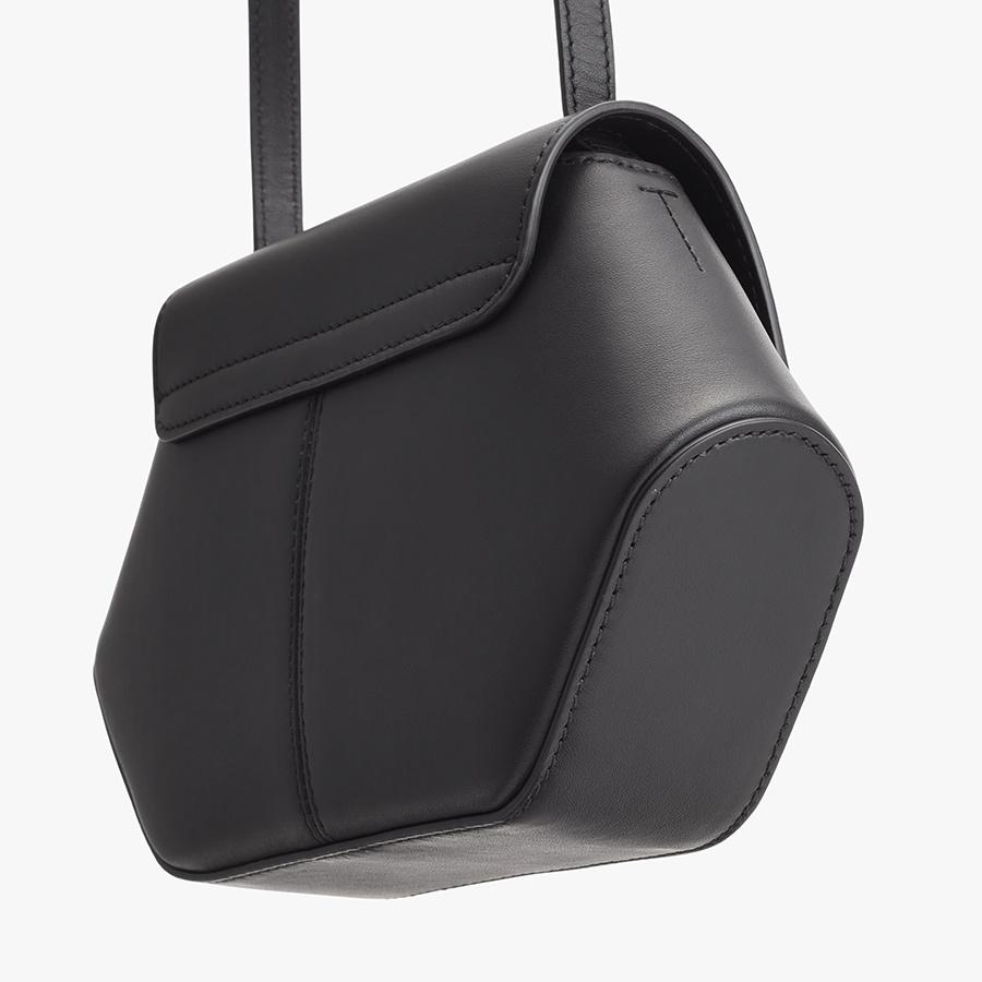Women's Mini Hexagon Crossbody Bag in Black   Smooth Leather by Cuyana 2