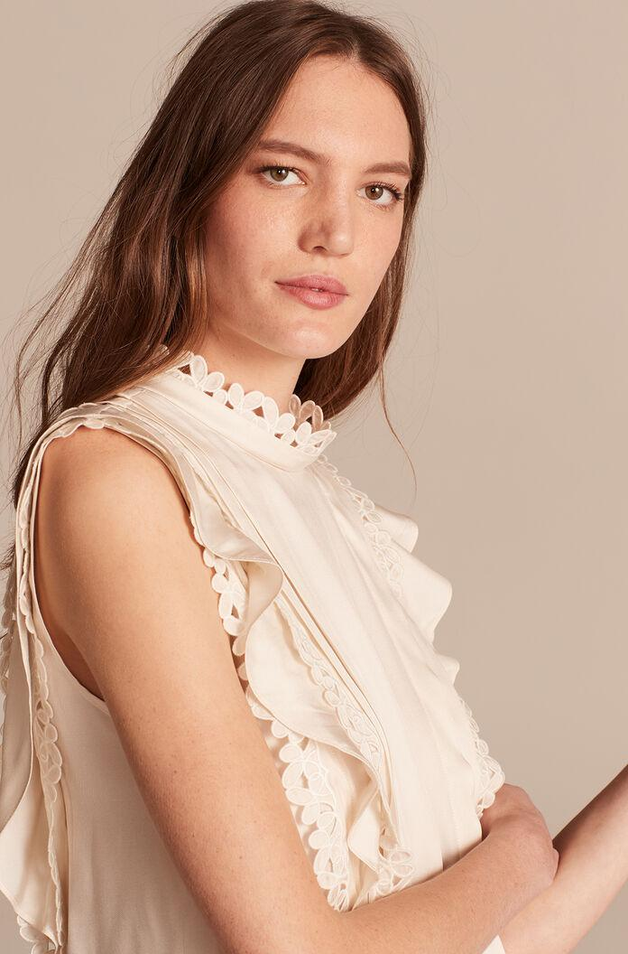 SLEEVELESS EMBROIDERED SILK TOP