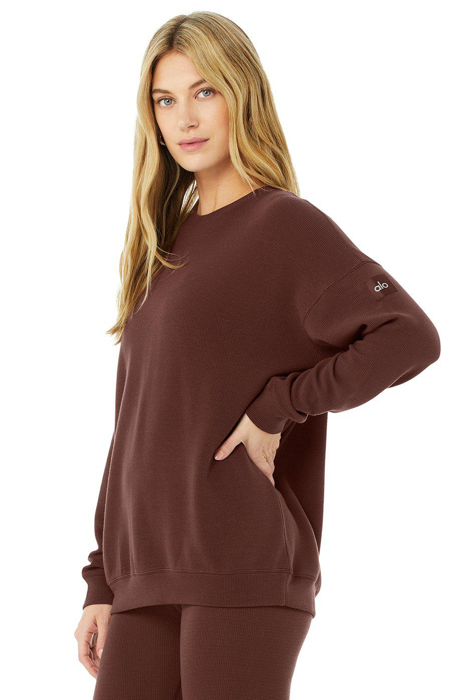 Micro Waffle Relaxation Pullover - Cherry Cola 1
