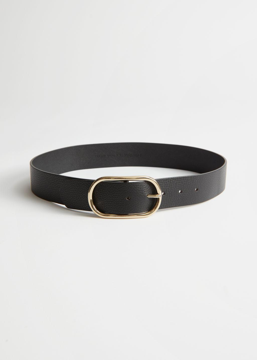 Oval Buckled Leather Belt