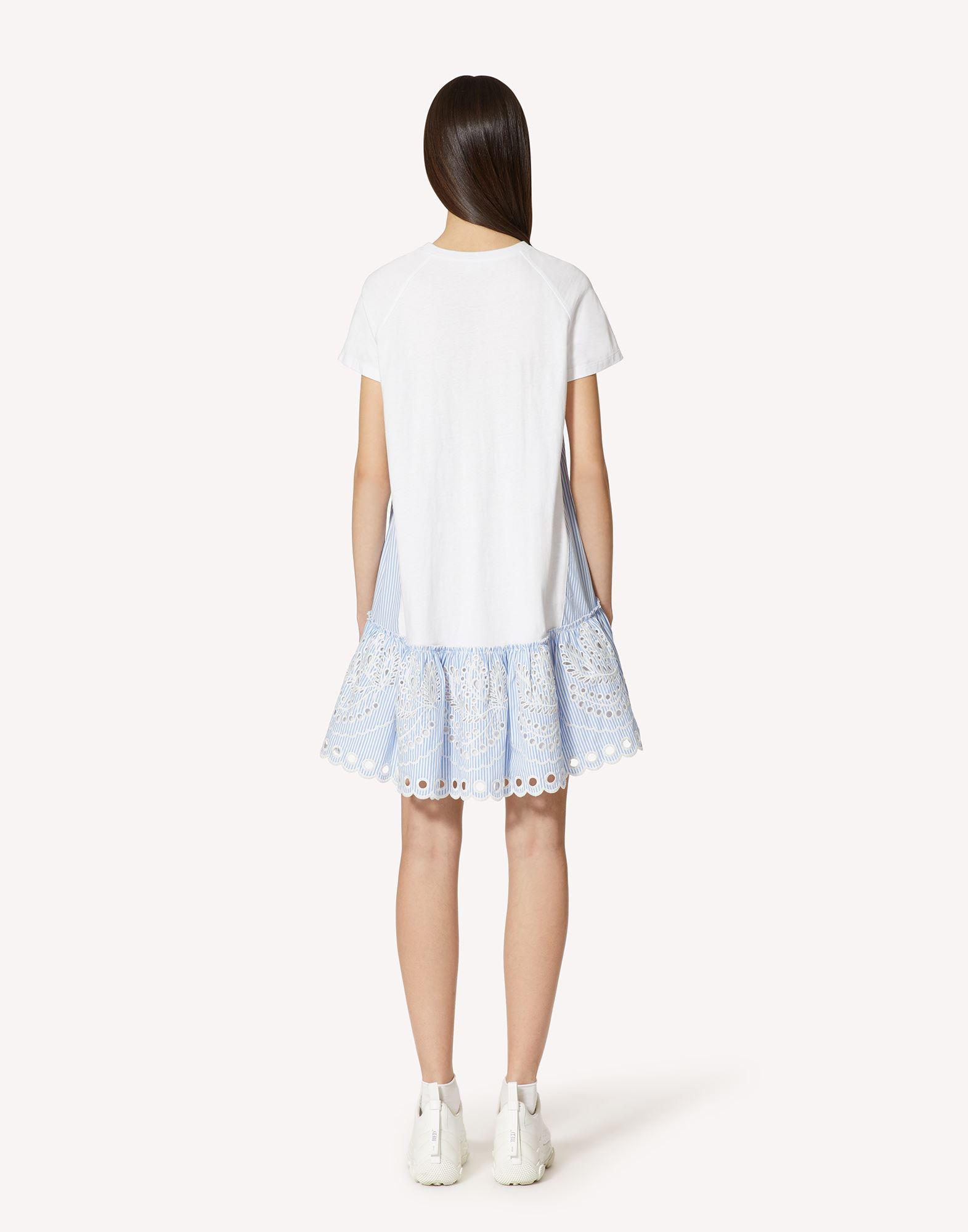 T-SHIRT DRESS WITH STRIPED COTTON POPLIN AND SANGALLO EMBROIDERY 1