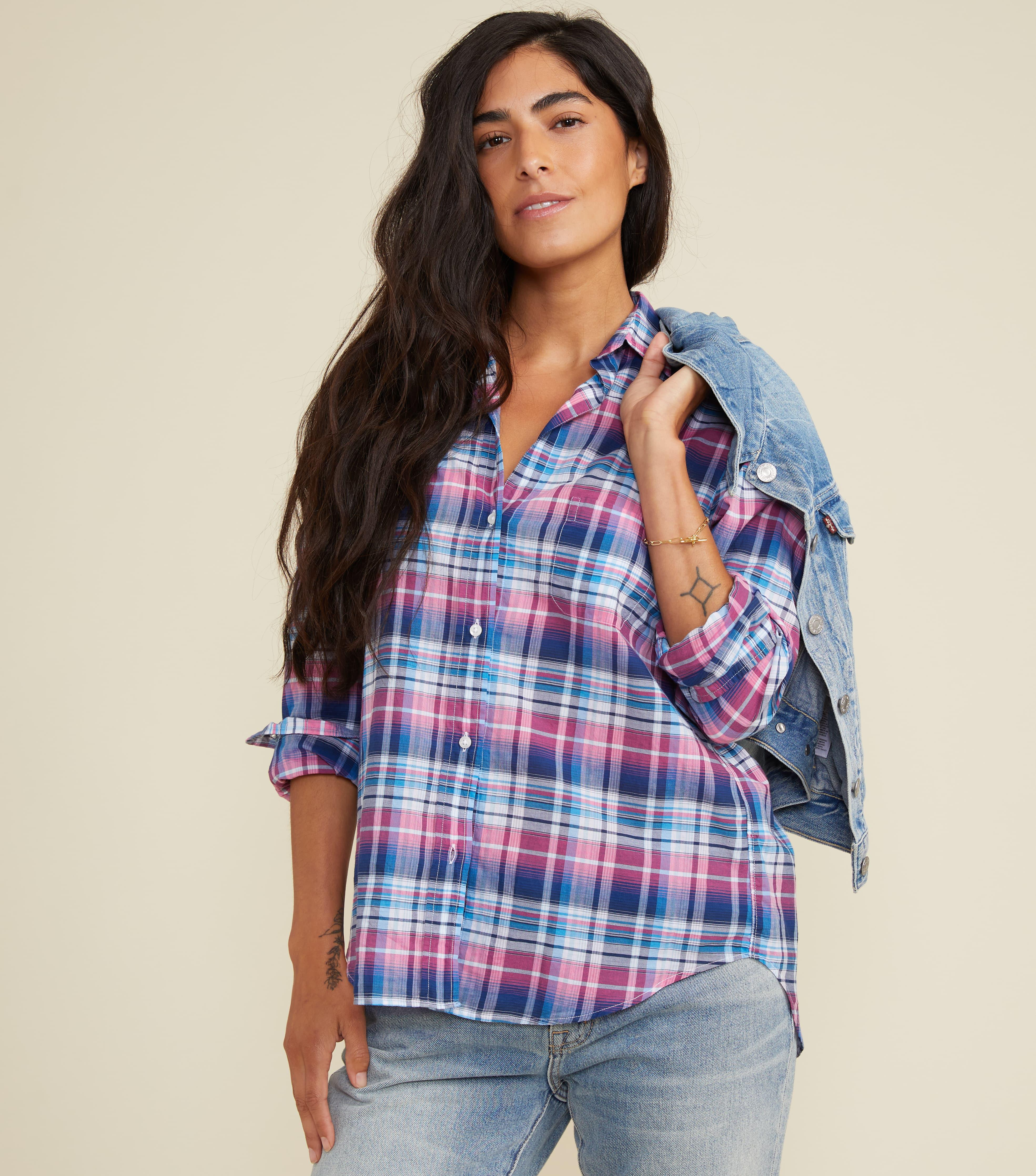 The Hero Blue and Pink Multi Plaid, Tissue Cotton Final Sale 1
