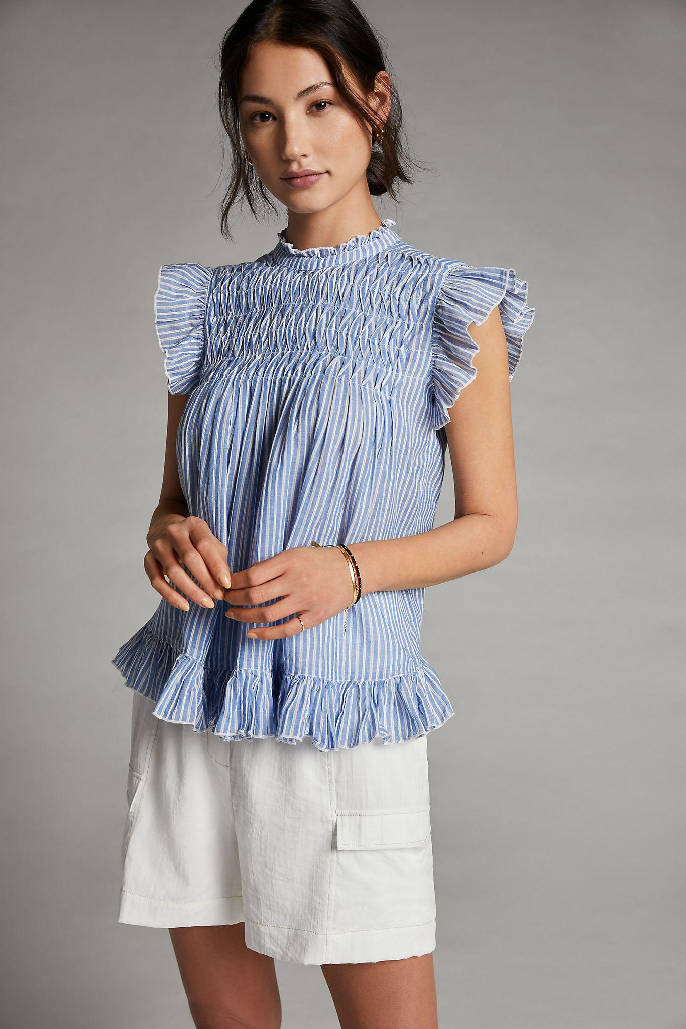 Ruffled Back-Tie Blouse