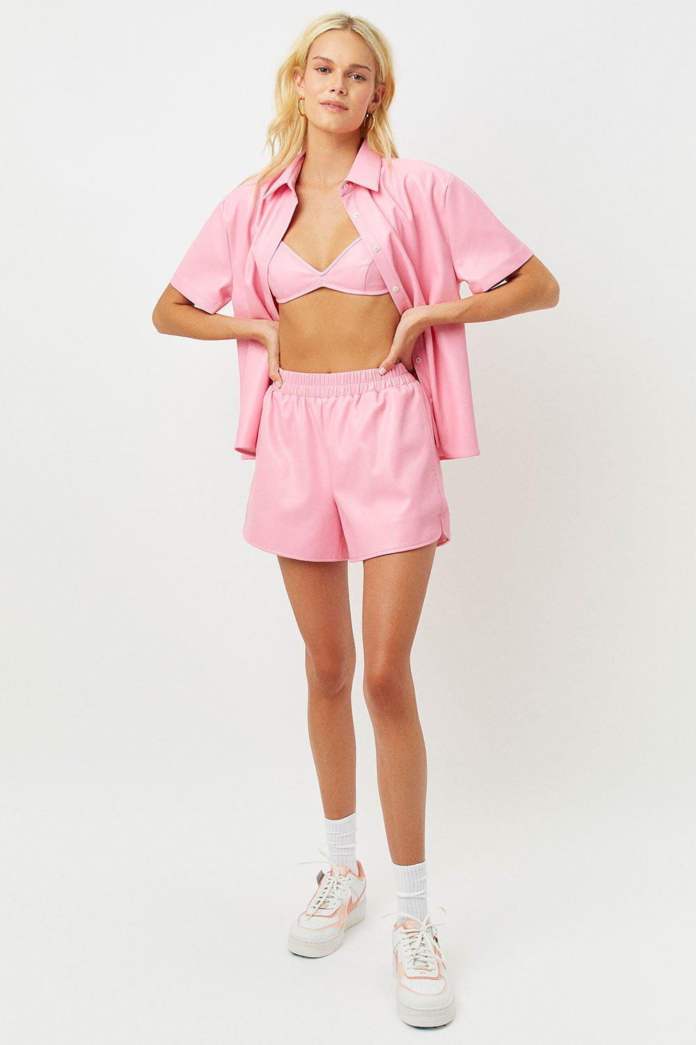 Rusty Vegan Leather Button Up Shirt - Pink Punch 2