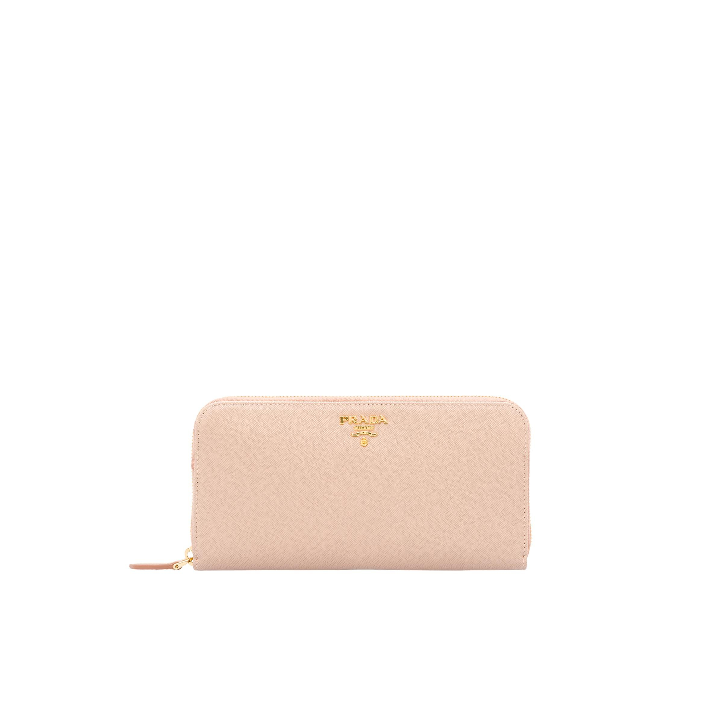 Large Saffiano Leather Wallet Women Cameo Beige