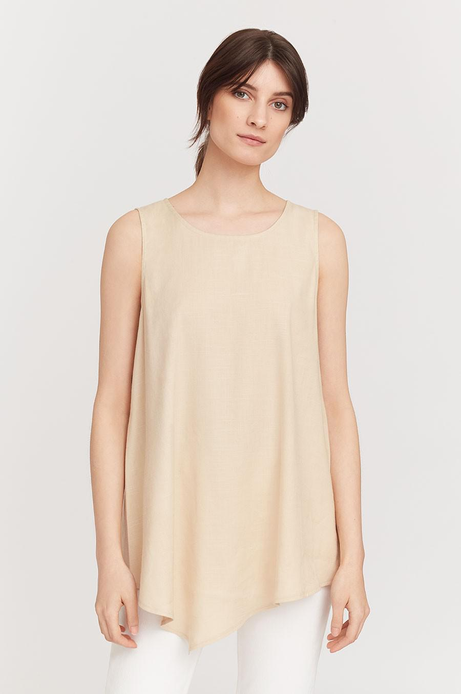Women's Linen Draped-Front Shell Top in Sand | Size: 1