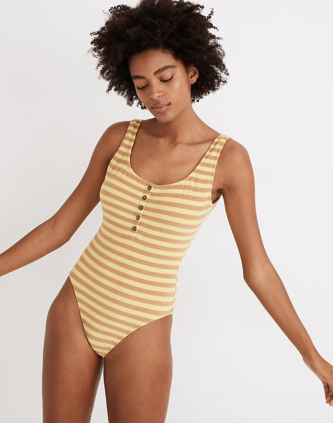 Madewell Striped Terry One-Piece Swimsuit