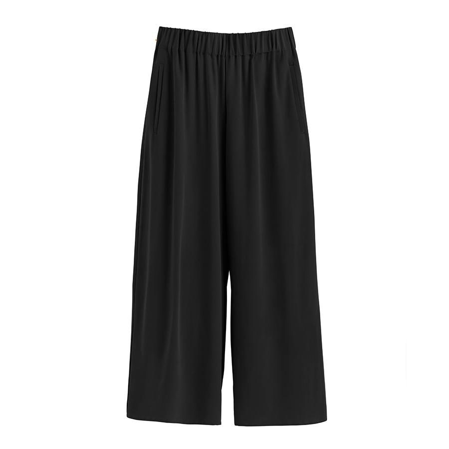 Women's Wide-Leg Cropped Pant in Black | Size: XS | Washable Silk by Cuyana