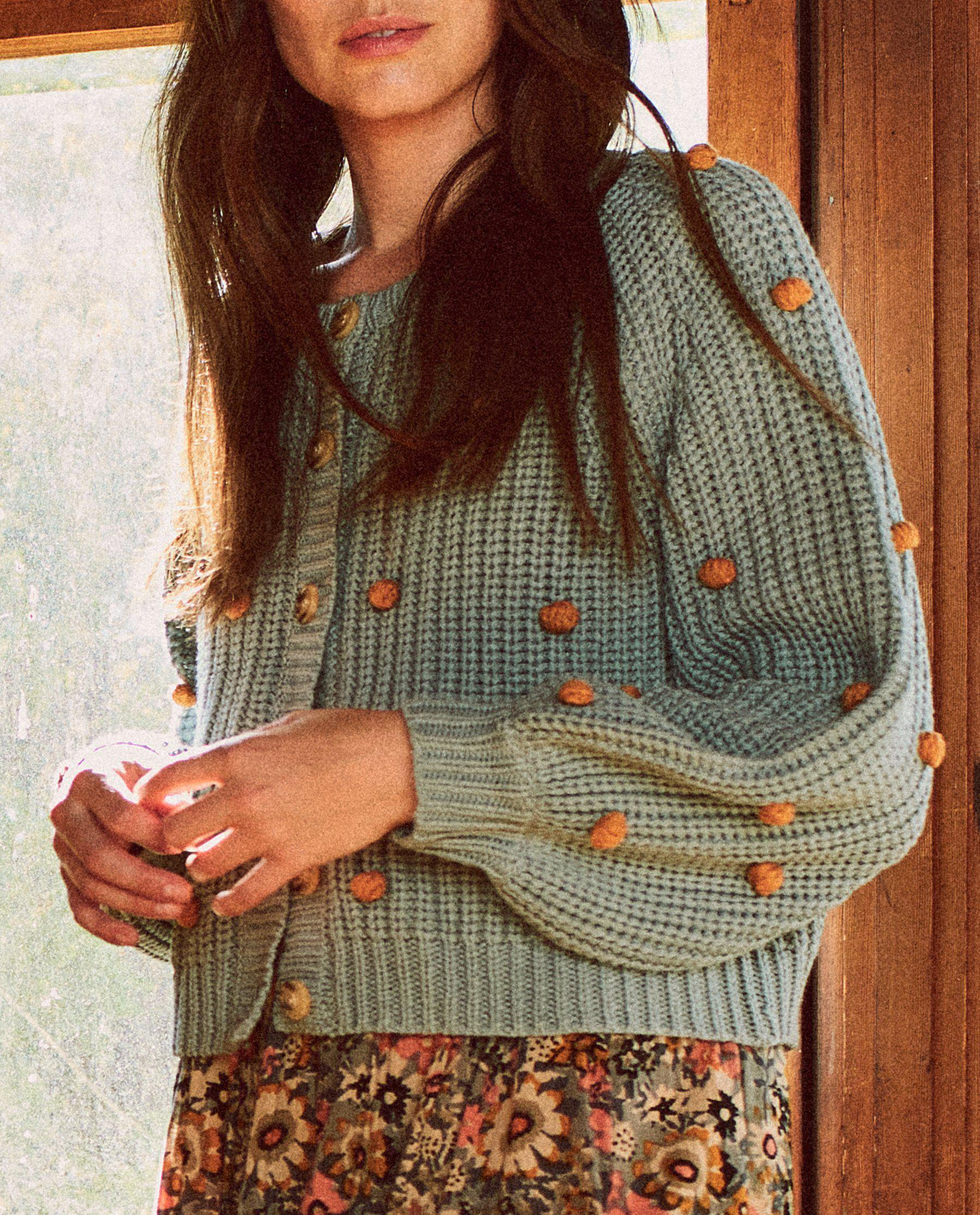 The Bobble Sophomore Cardigan. -- Dusty Blue with Honey 2