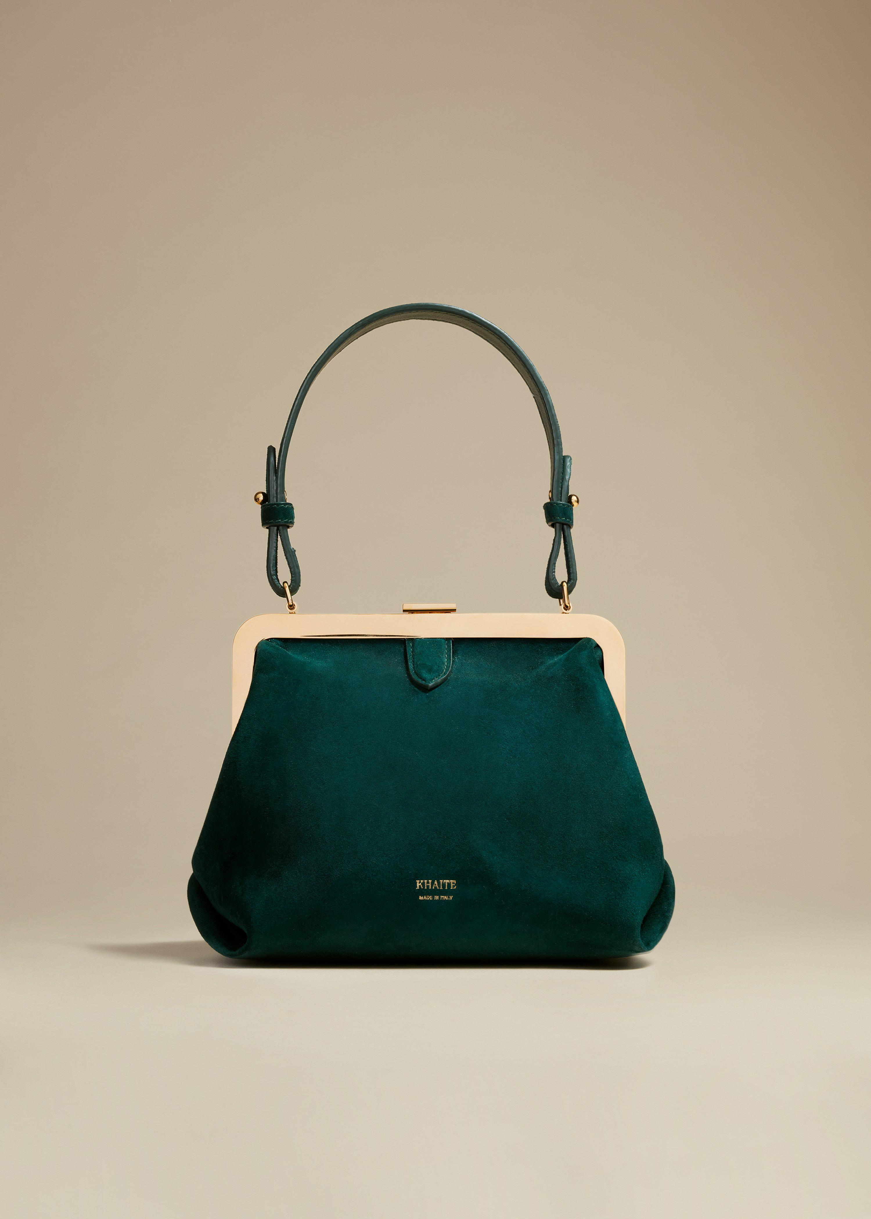 The Small Agnes Bag in Hunter Green Suede