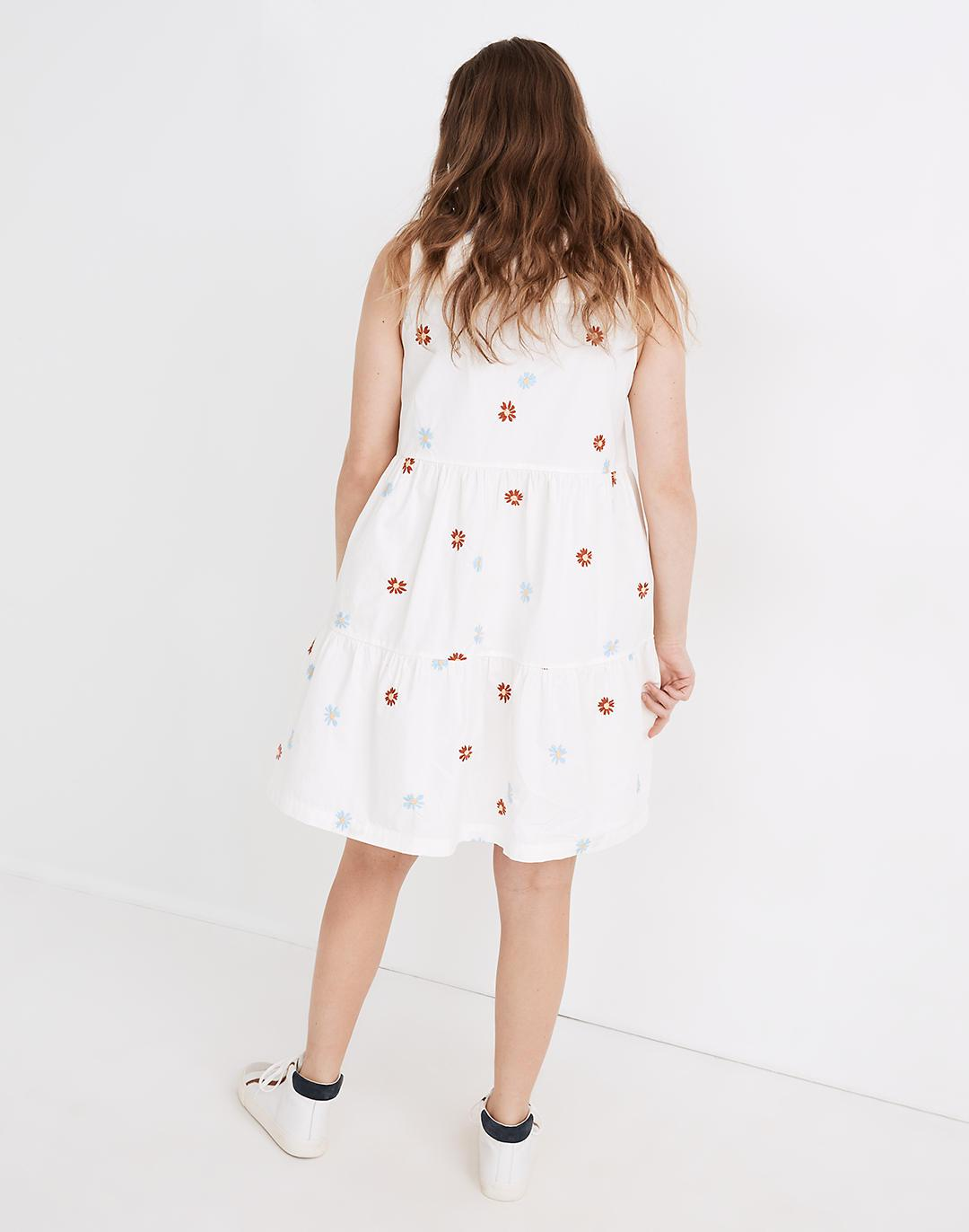 Daisy Embroidered Banded-Collar Tiered Dress 2