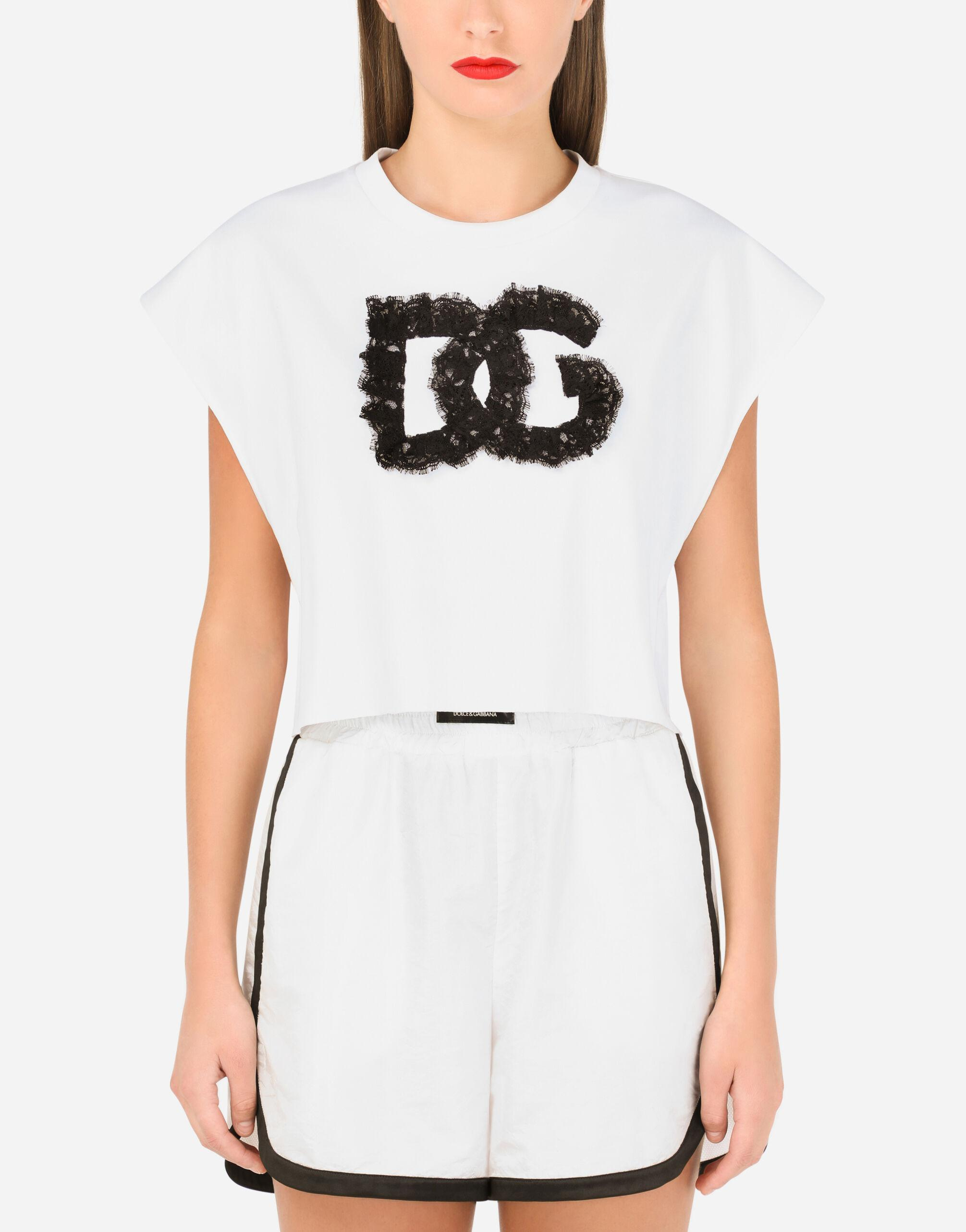 Cropped jersey T-shirt with lace DG embellishment
