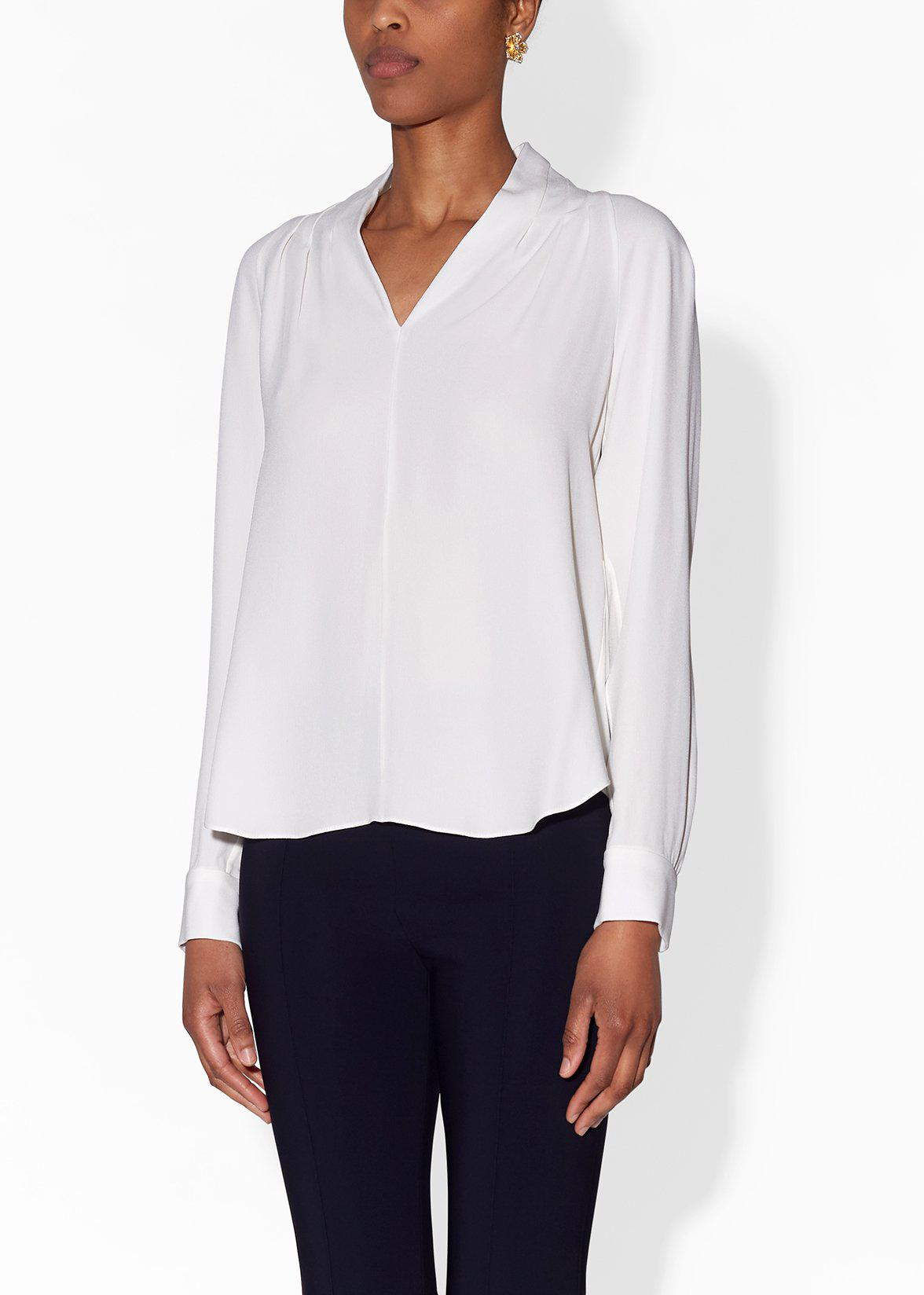 PINTUCK BLOUSE IN SATIN BACK CREPE