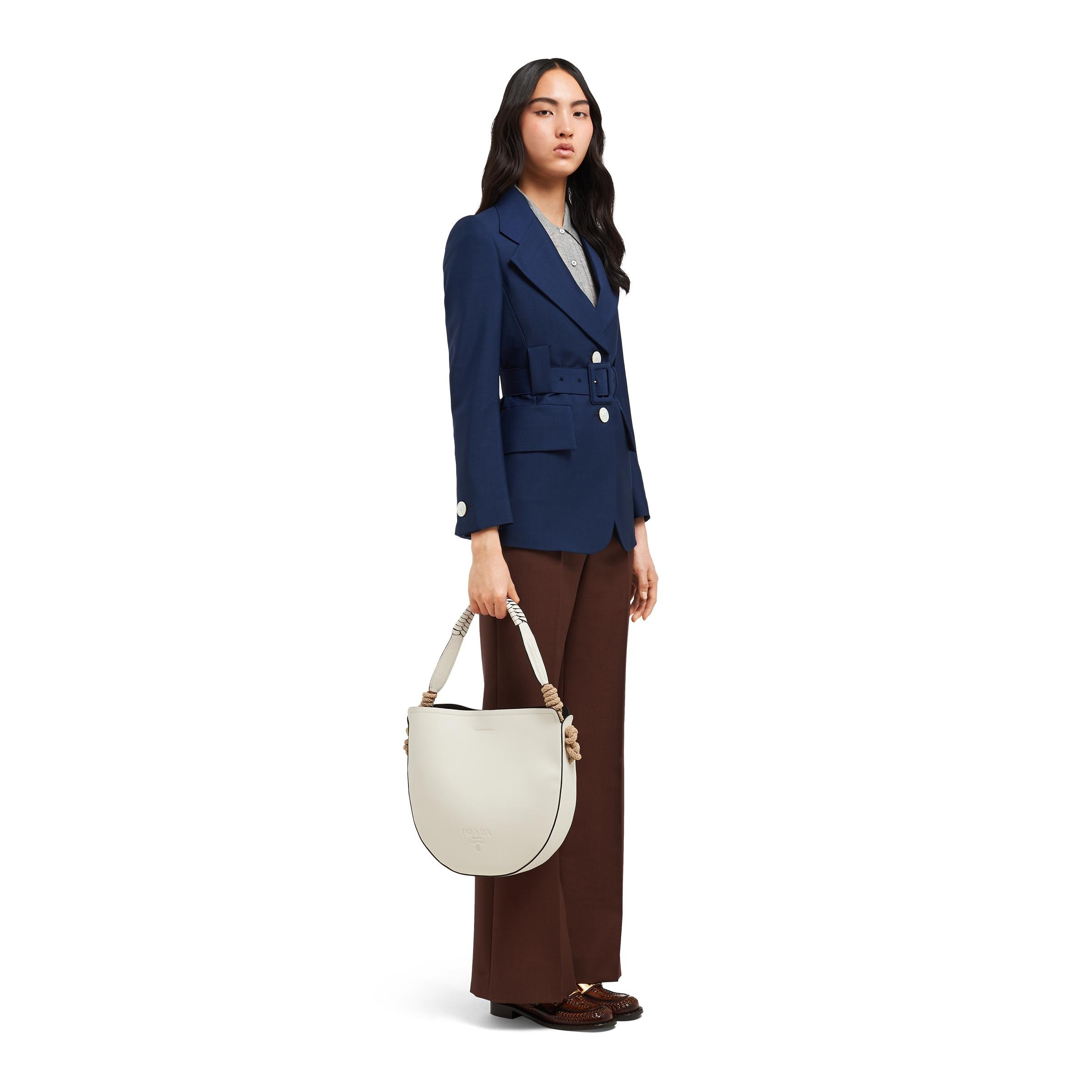 Leather Bag With Cord Details Women White/black 6