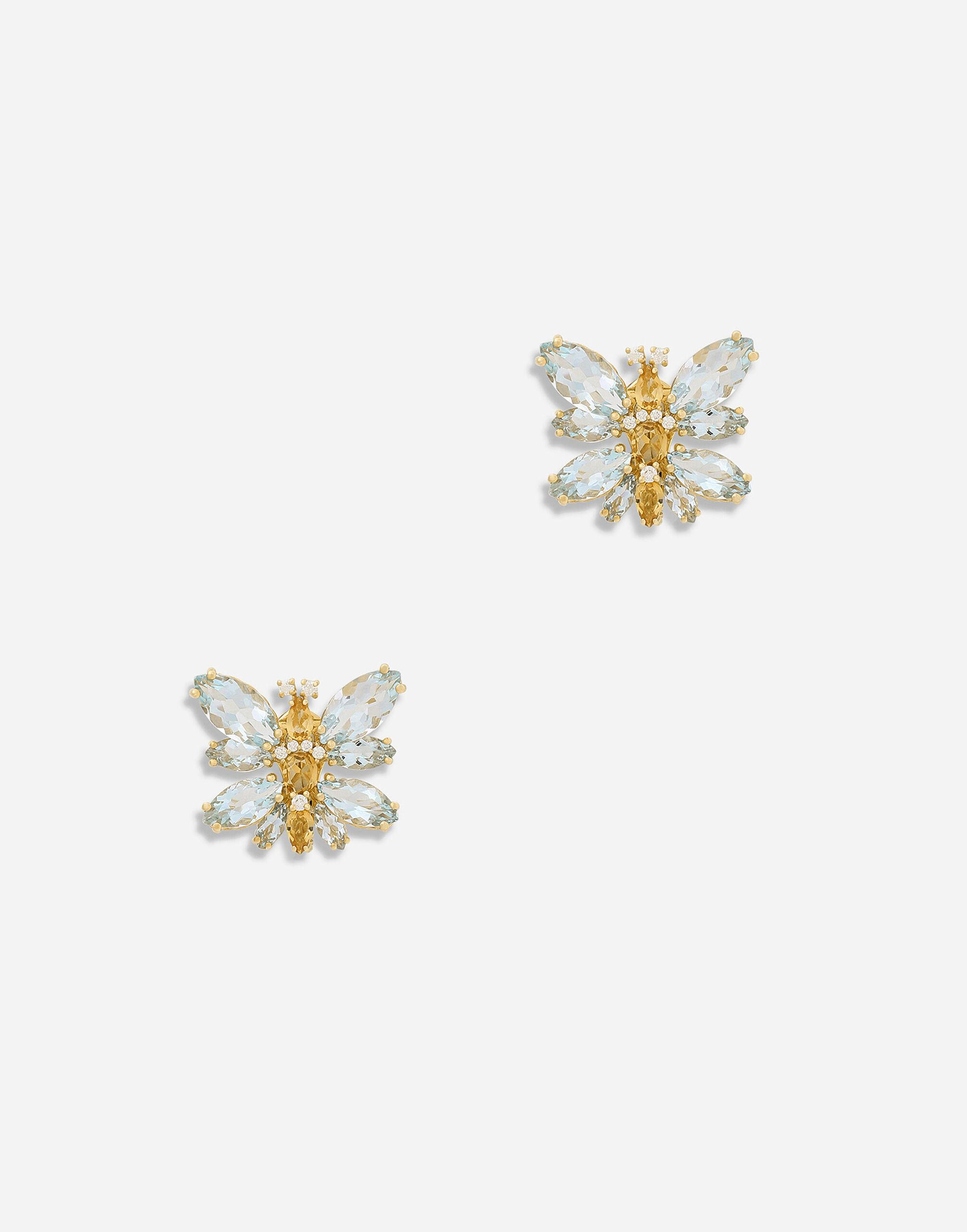 Spring earrings in yellow 18kt gold with aquamarine butterfly