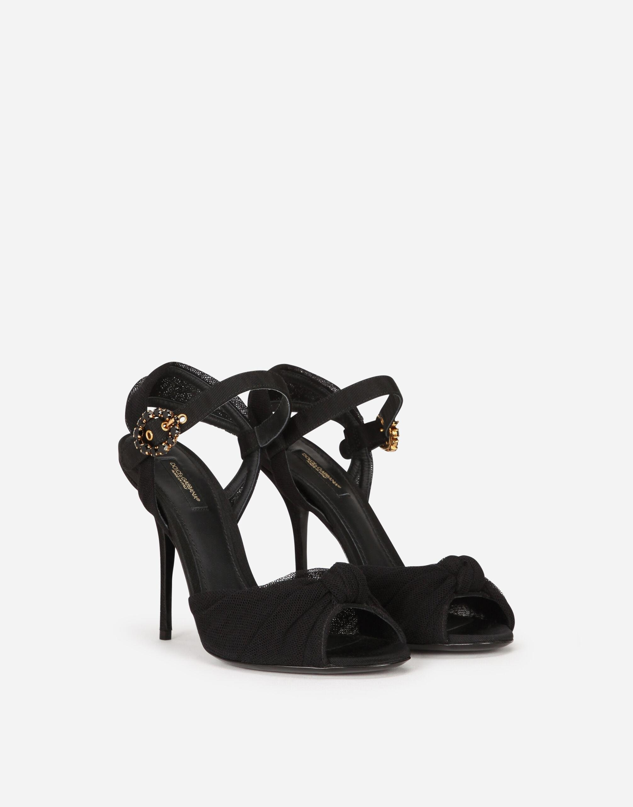 Tulle and gros-grain sandals with bejeweled buckle 1