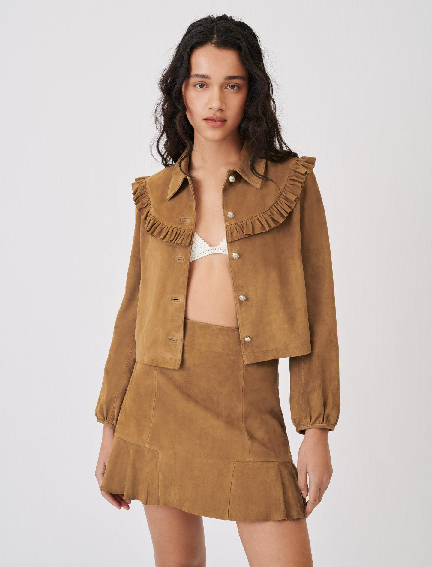 SUEDE JACKET WITH RUFFLES